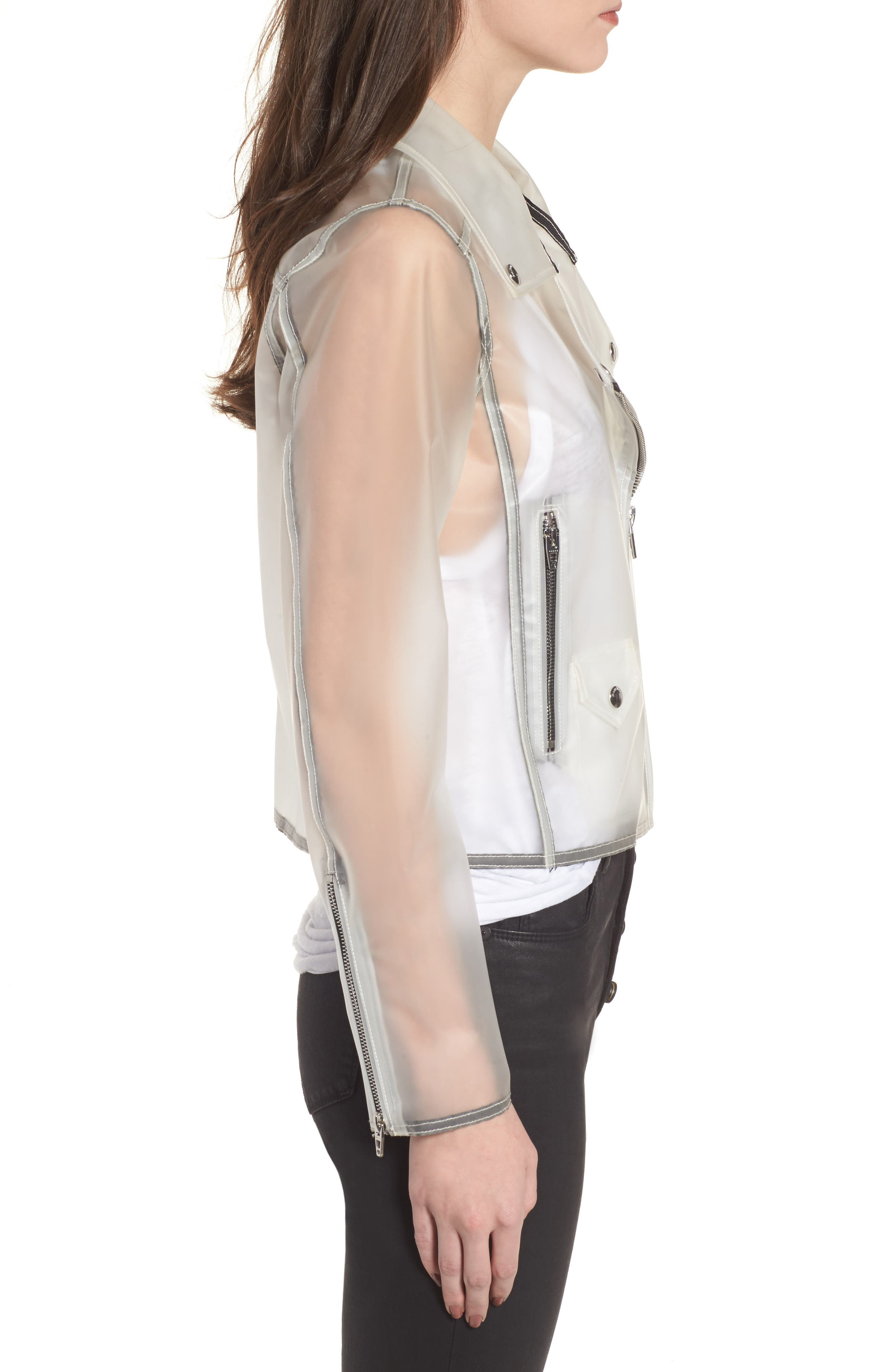 Plastic Moto Jacket,                             Alternate thumbnail 3, color,                             100