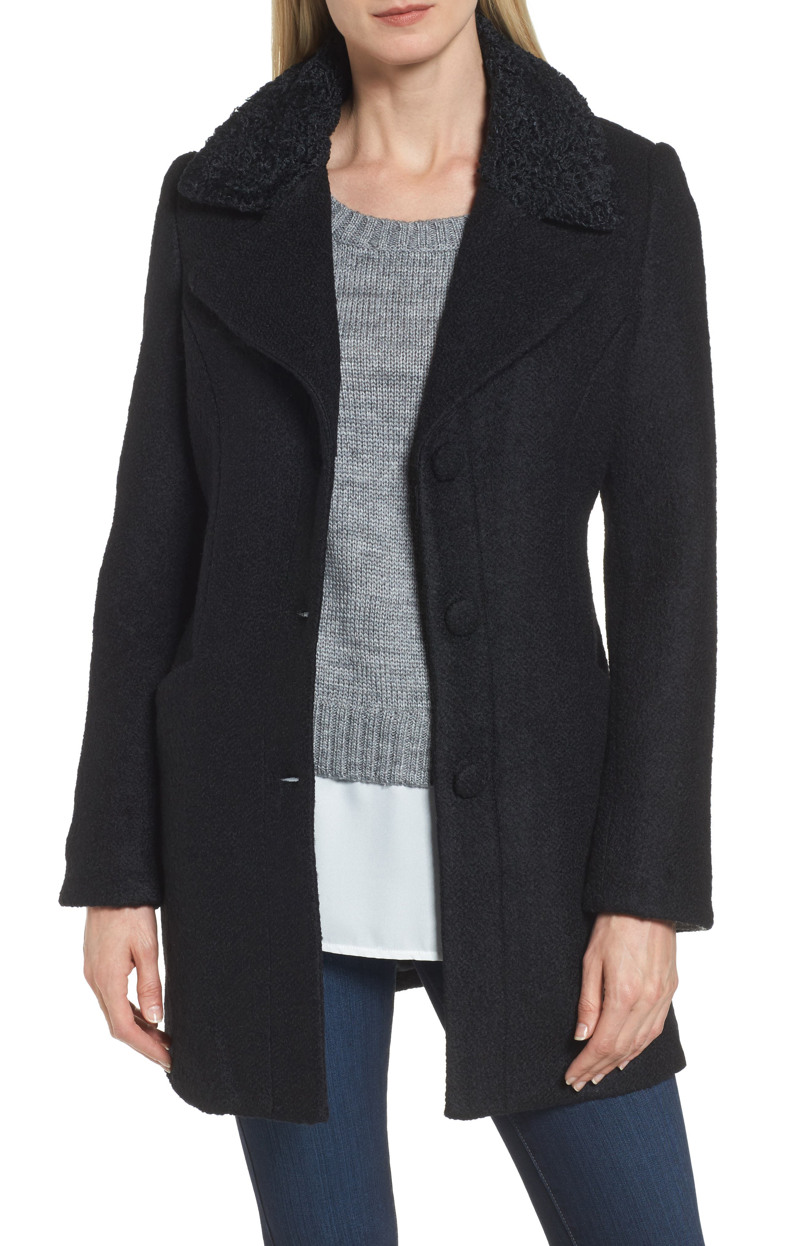 Contrast Collar Bouclé Coat,                         Main,                         color, 001