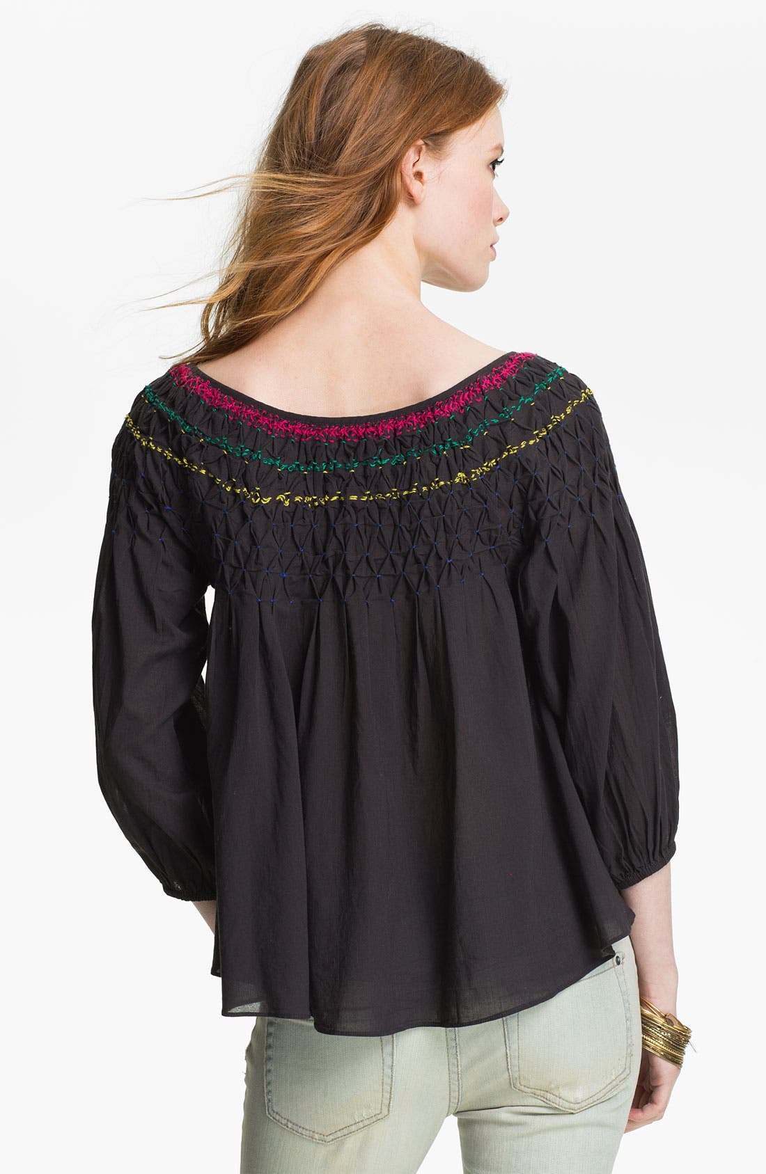 Embroidered Peasant Blouse,                             Alternate thumbnail 2, color,                             002