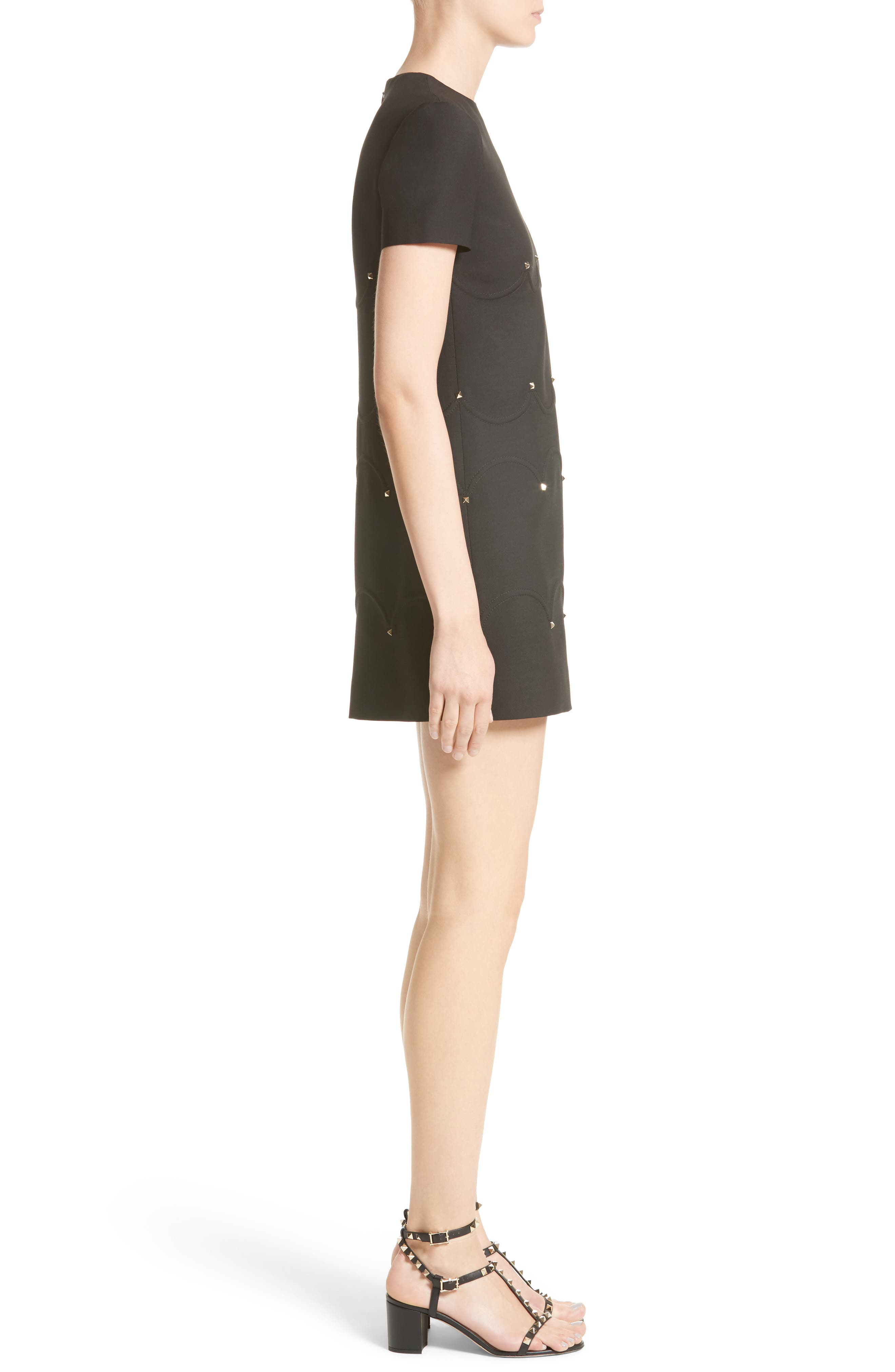 Studded Scallop Dress,                             Alternate thumbnail 3, color,                             BLACK