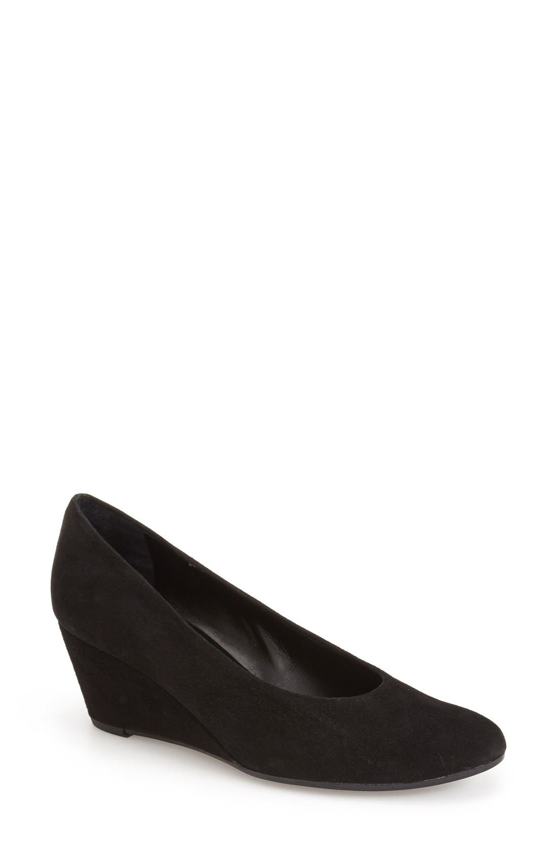 'Dilys' Wedge Pump,                         Main,                         color, BLACK SUEDE