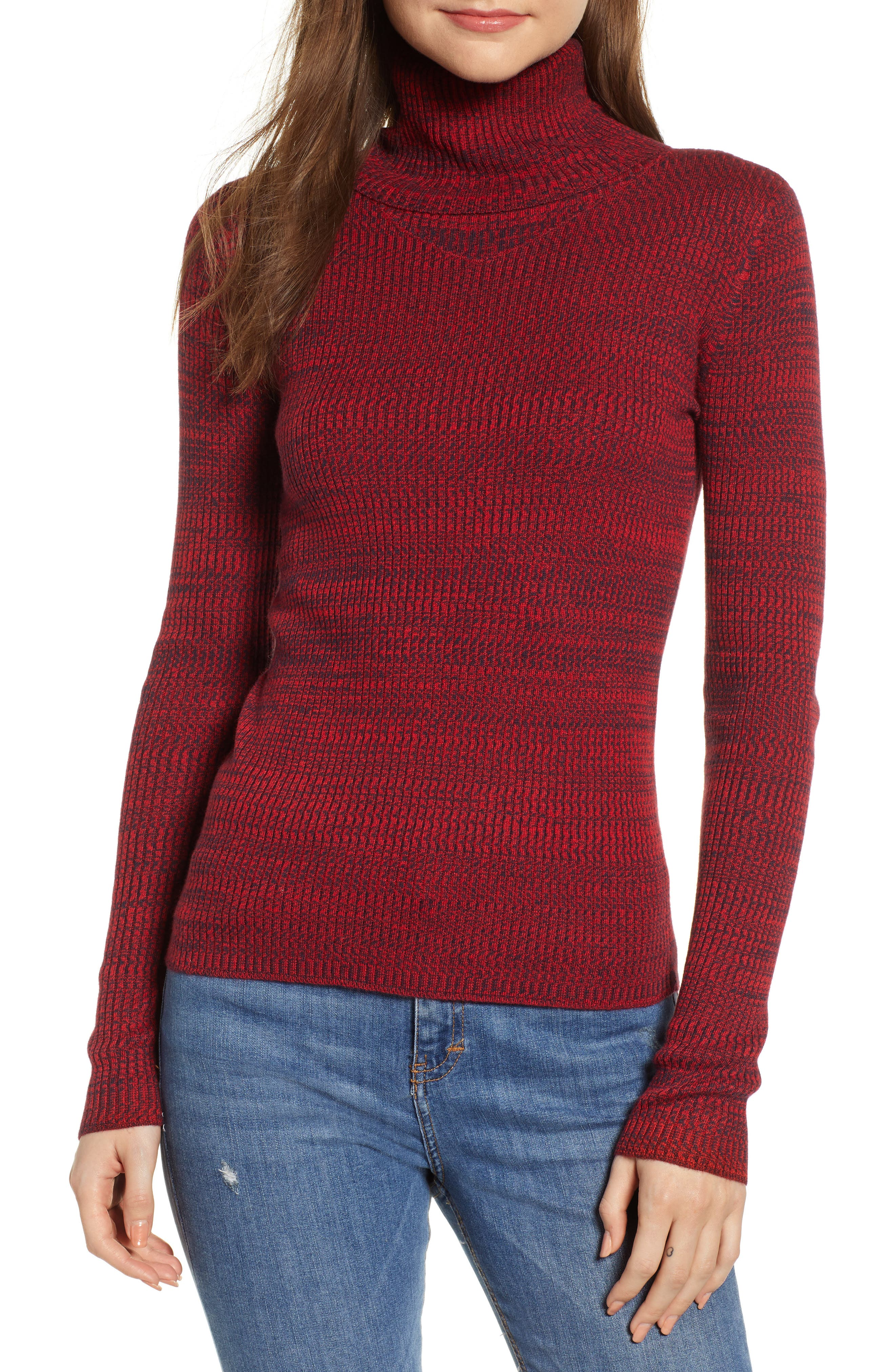 Space Dye Turtleneck Sweater,                         Main,                         color, RED CHINOISE COMBO
