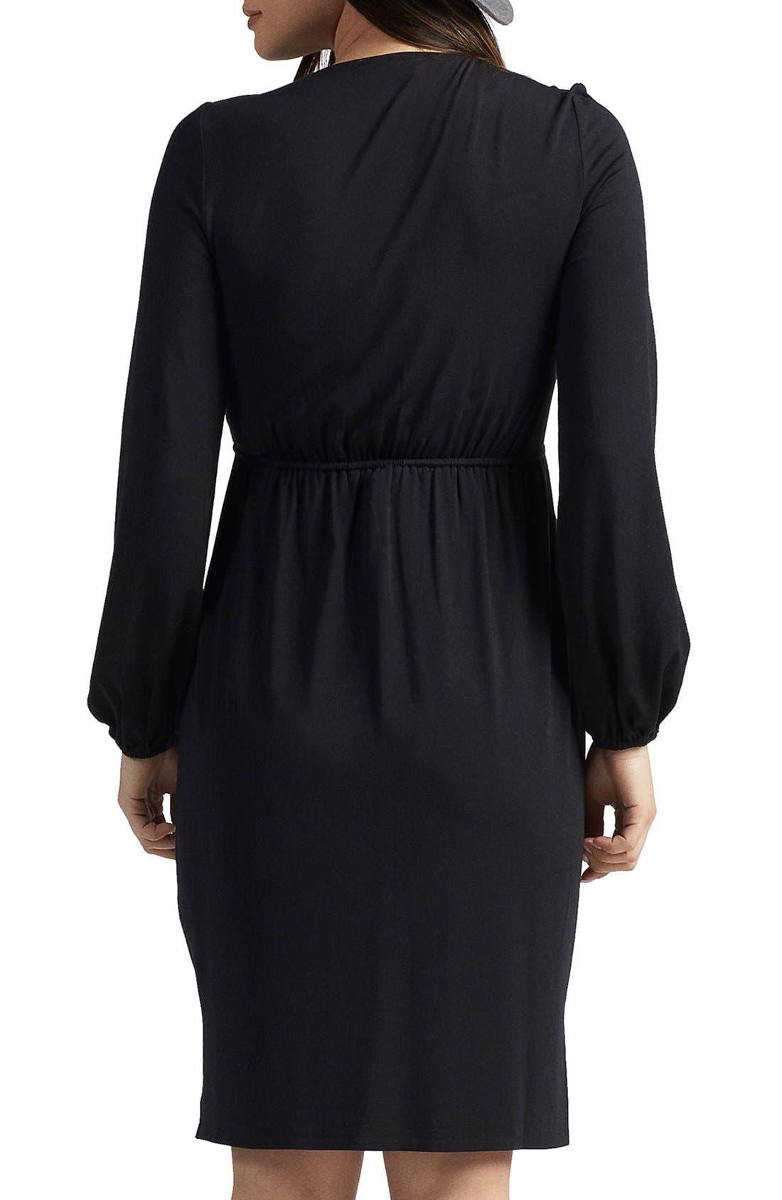 Mellany Maternity Dress,                             Alternate thumbnail 2, color,                             BLACK