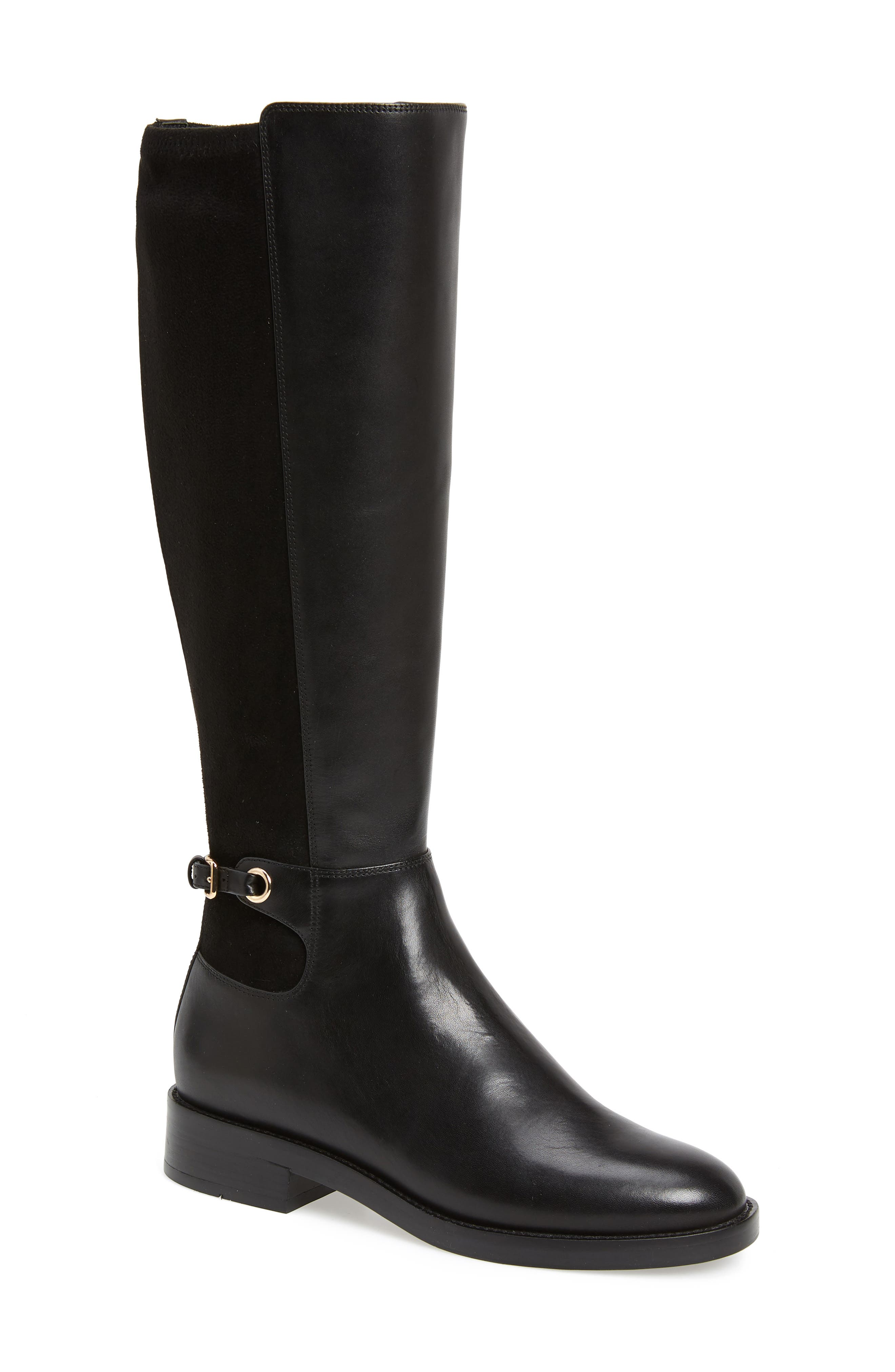 Parker Grand Stretch Knee High Boot,                             Main thumbnail 1, color,                             BLACK LEATHER
