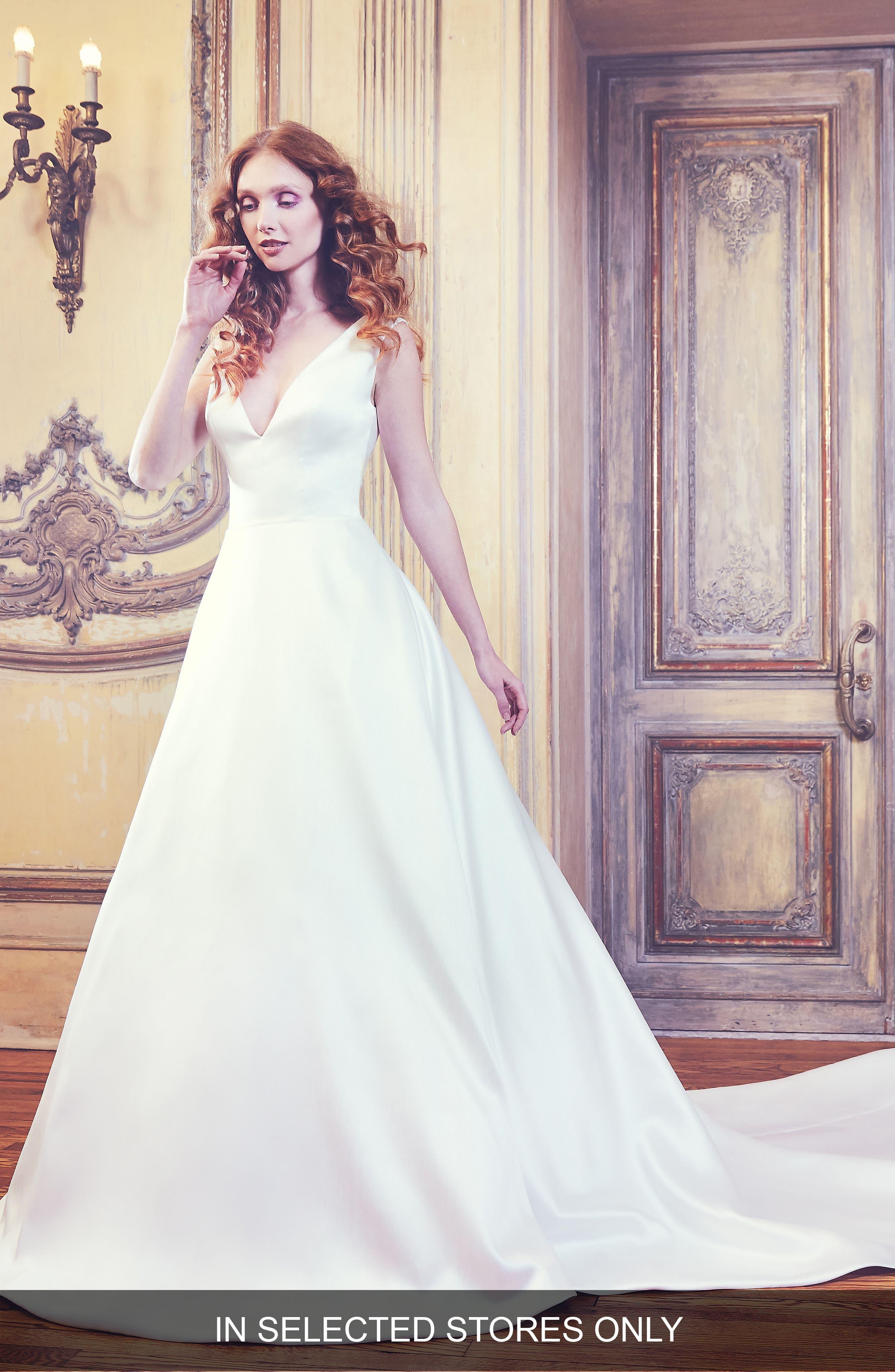 Waldorf V-Neck Shantung Gown,                             Main thumbnail 1, color,                             IVORY