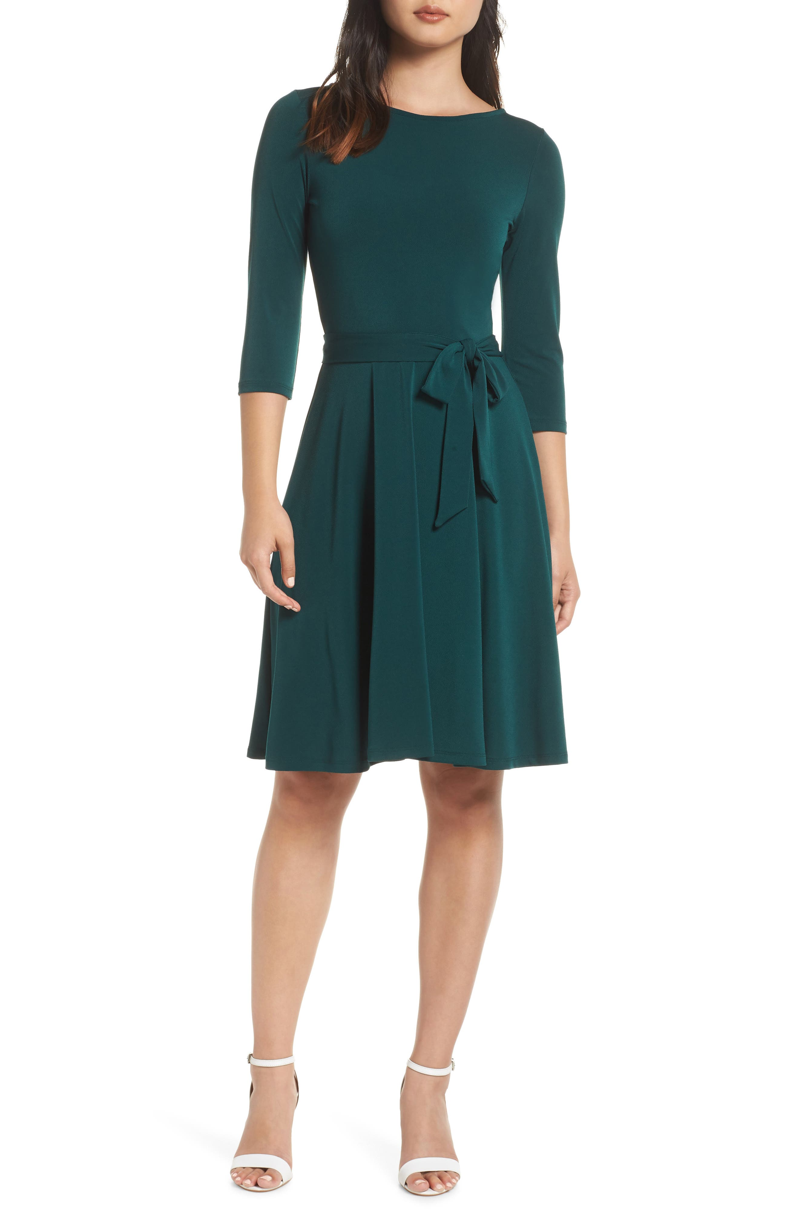 LEOTA Belted Print Jersey A-Line Dress in Forest Green