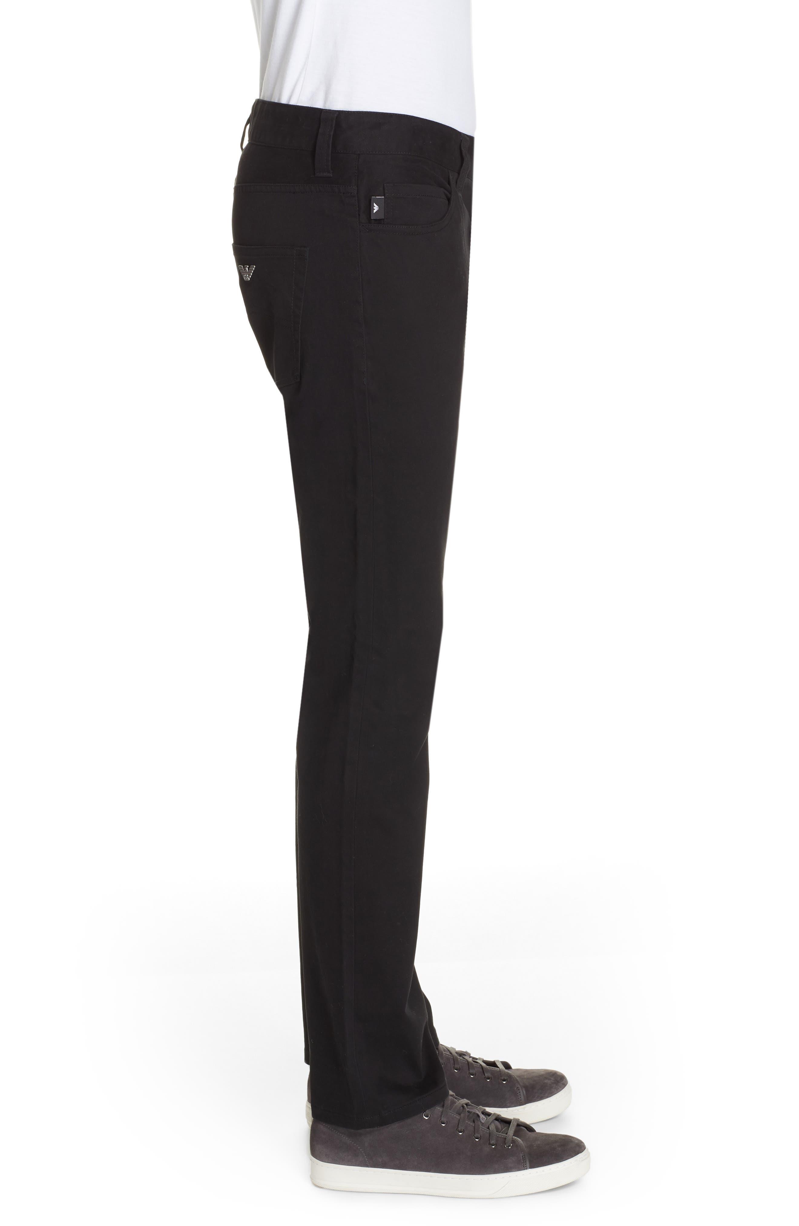Stretch Cotton Five Pocket Trousers,                             Alternate thumbnail 3, color,                             BLACK