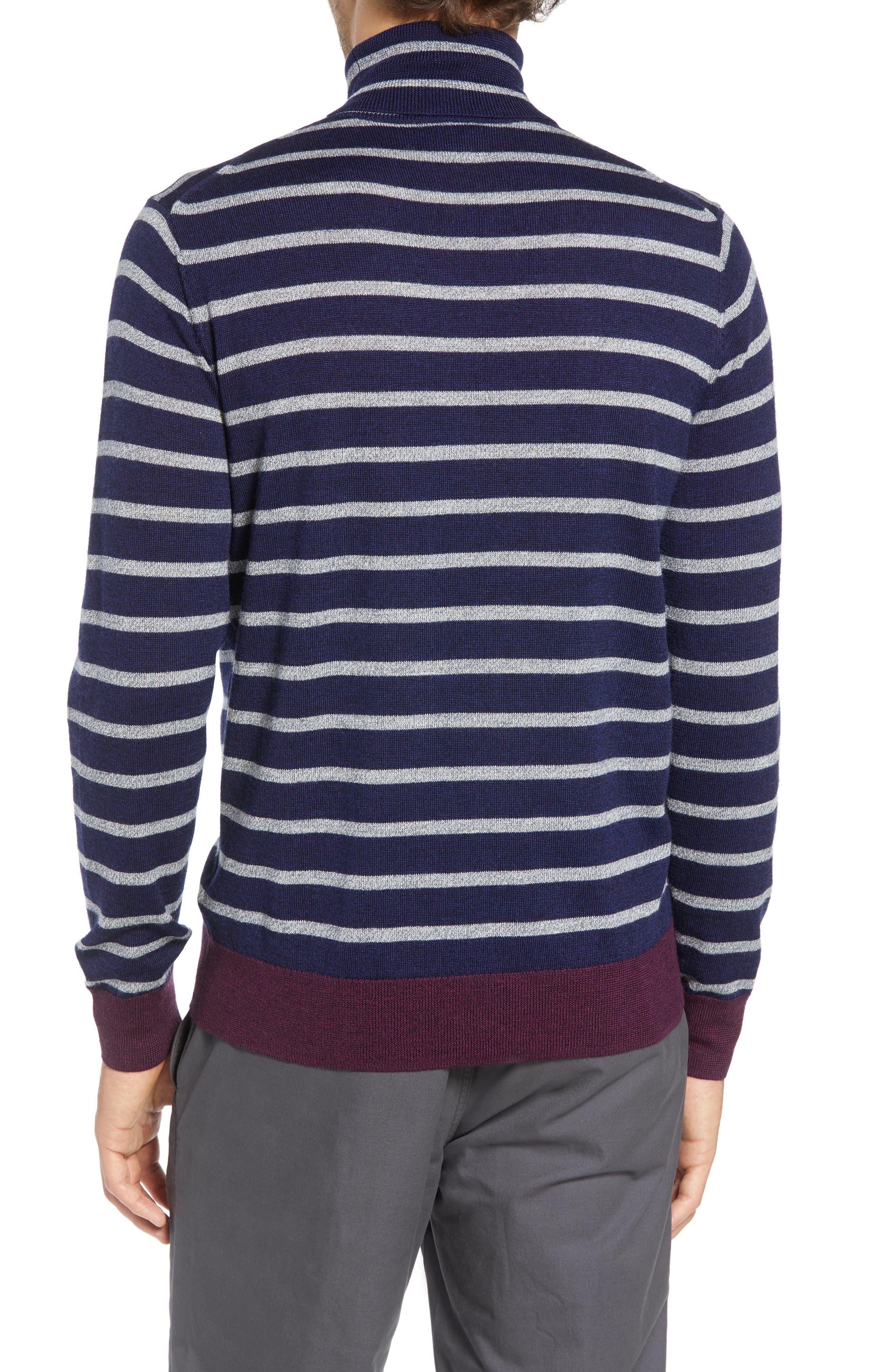 Slim Fit Turtleneck Merino Wool Sweater,                             Alternate thumbnail 2, color,                             HEATHER INK/ COOL GREY