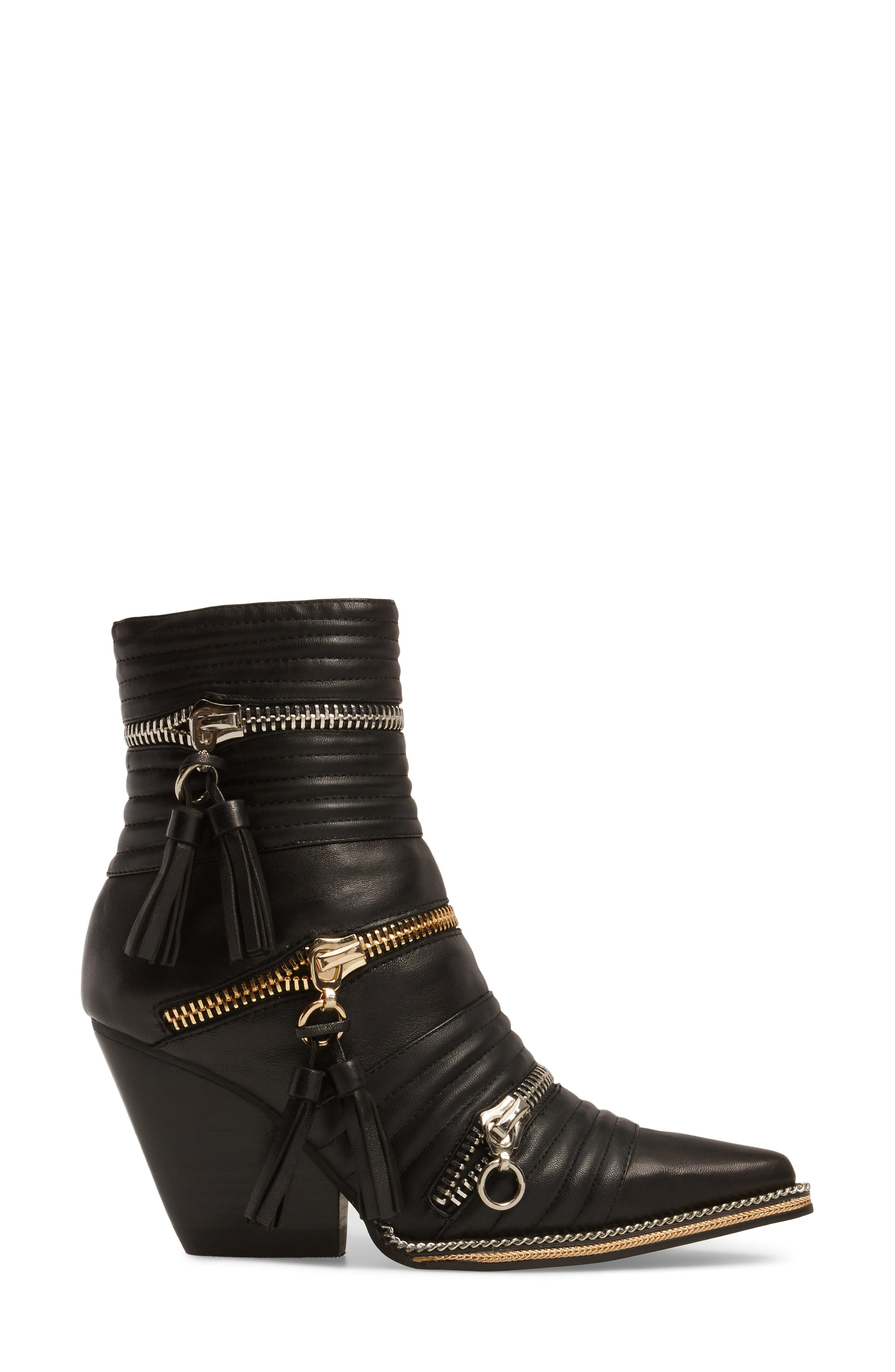 Tenzin Chain Pointy Toe Boot,                             Alternate thumbnail 3, color,                             001