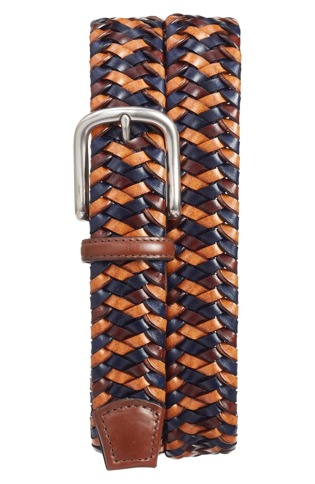 Torino Belts Woven Leather Belt, Navy