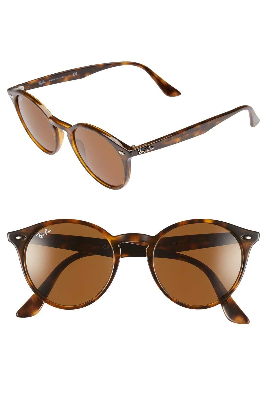 Highstreet 51mm Round Sunglasses,                         Main,                         color, DARK HAVANA