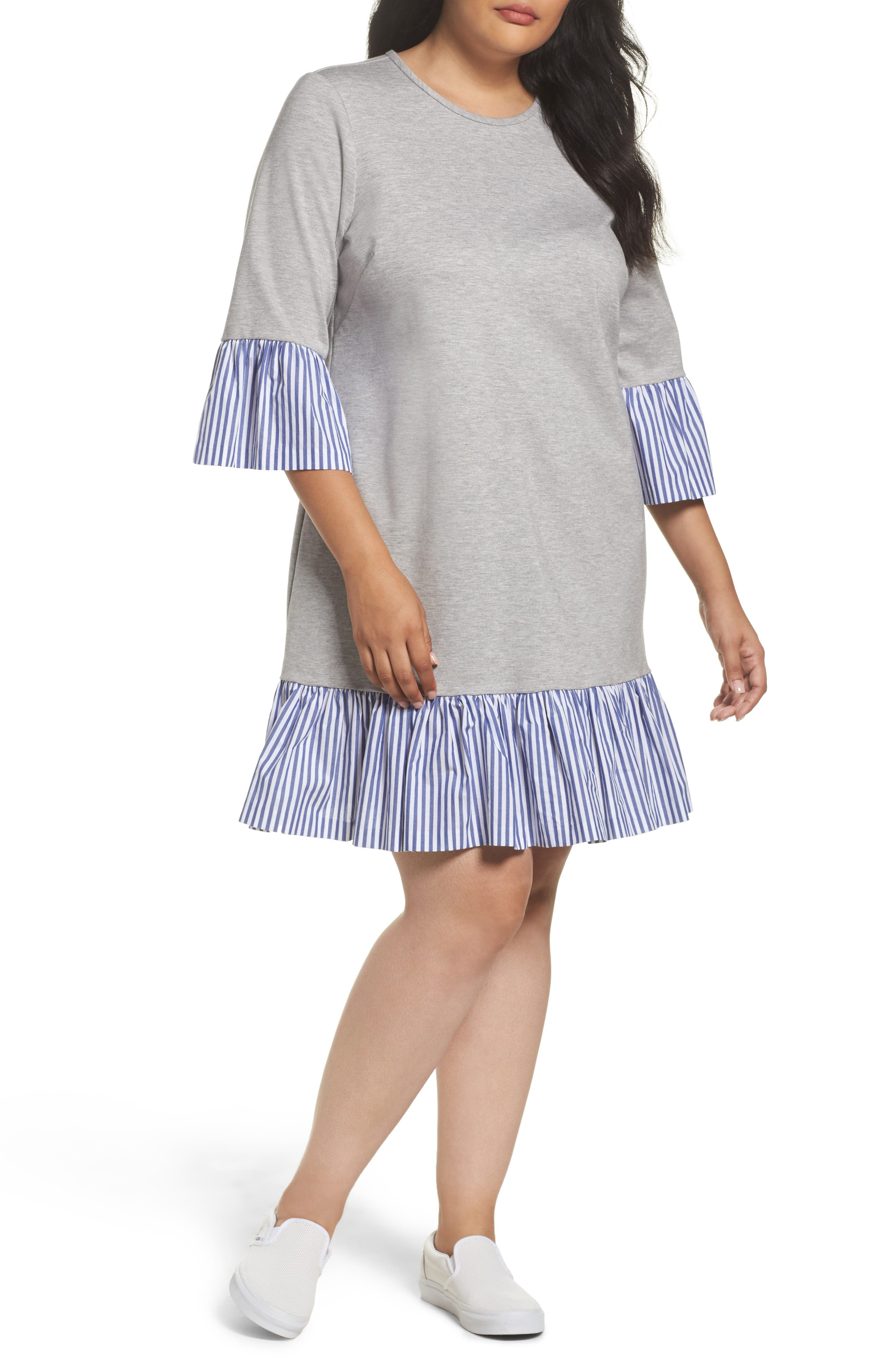 Flounce Hem Sweatshirt Dress,                             Main thumbnail 1, color,                             030
