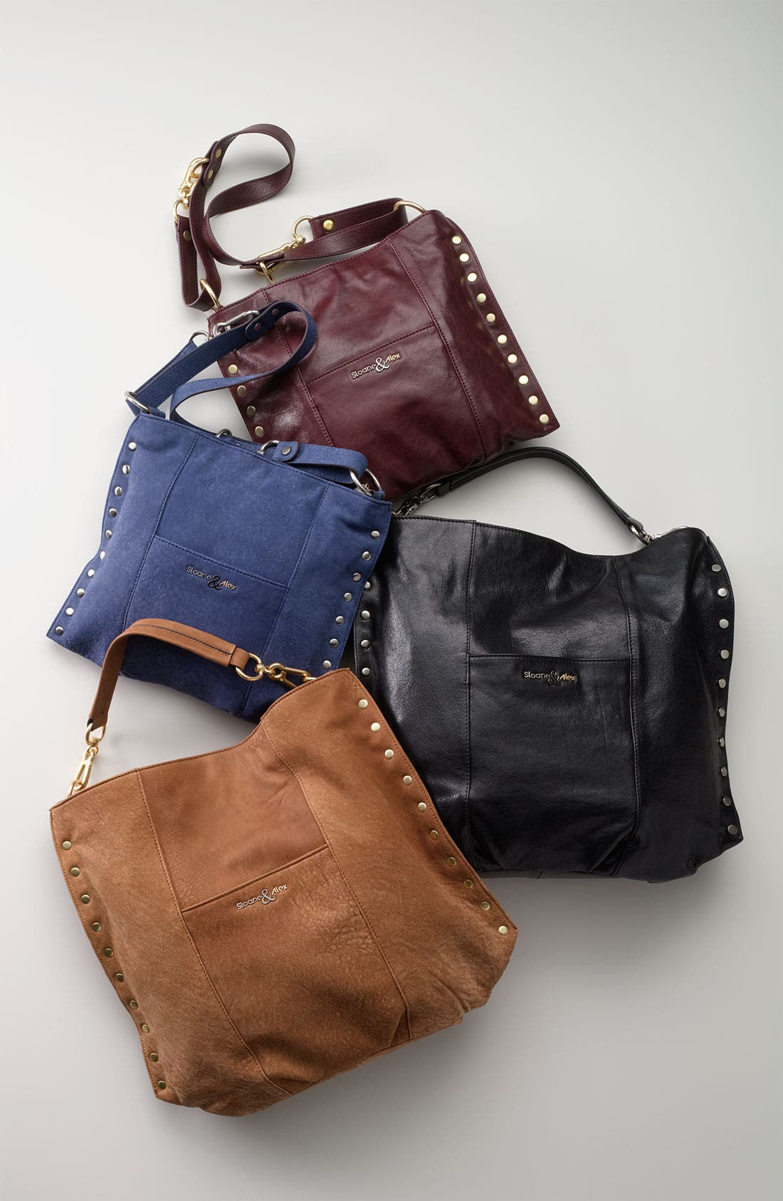 Sloane & Alex 'Angie' Leather Crossbody Bag,                             Alternate thumbnail 2, color,                             001
