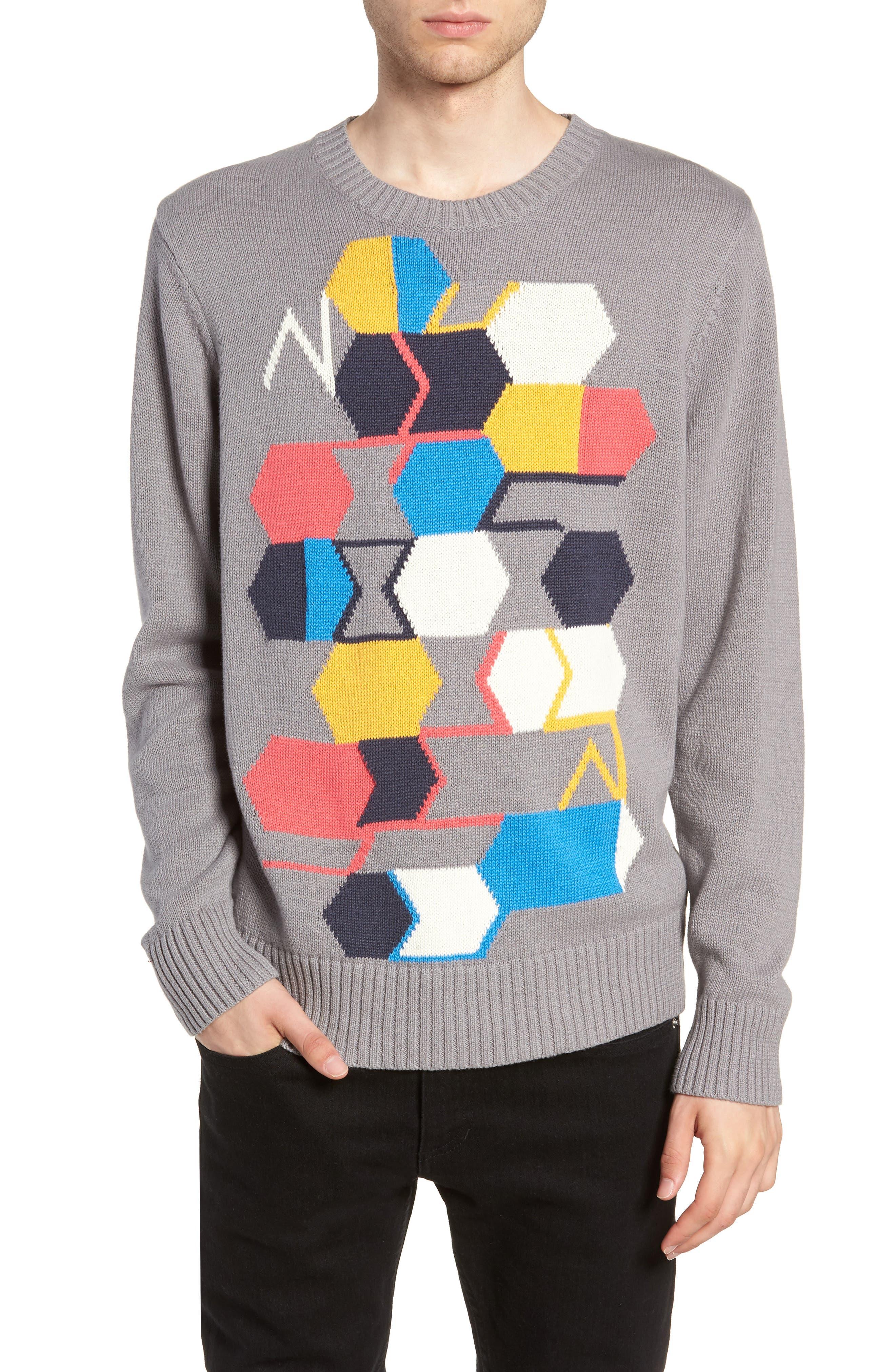 Geo Pattern Sweater,                         Main,                         color, GREY MULTI GEO BLOCK