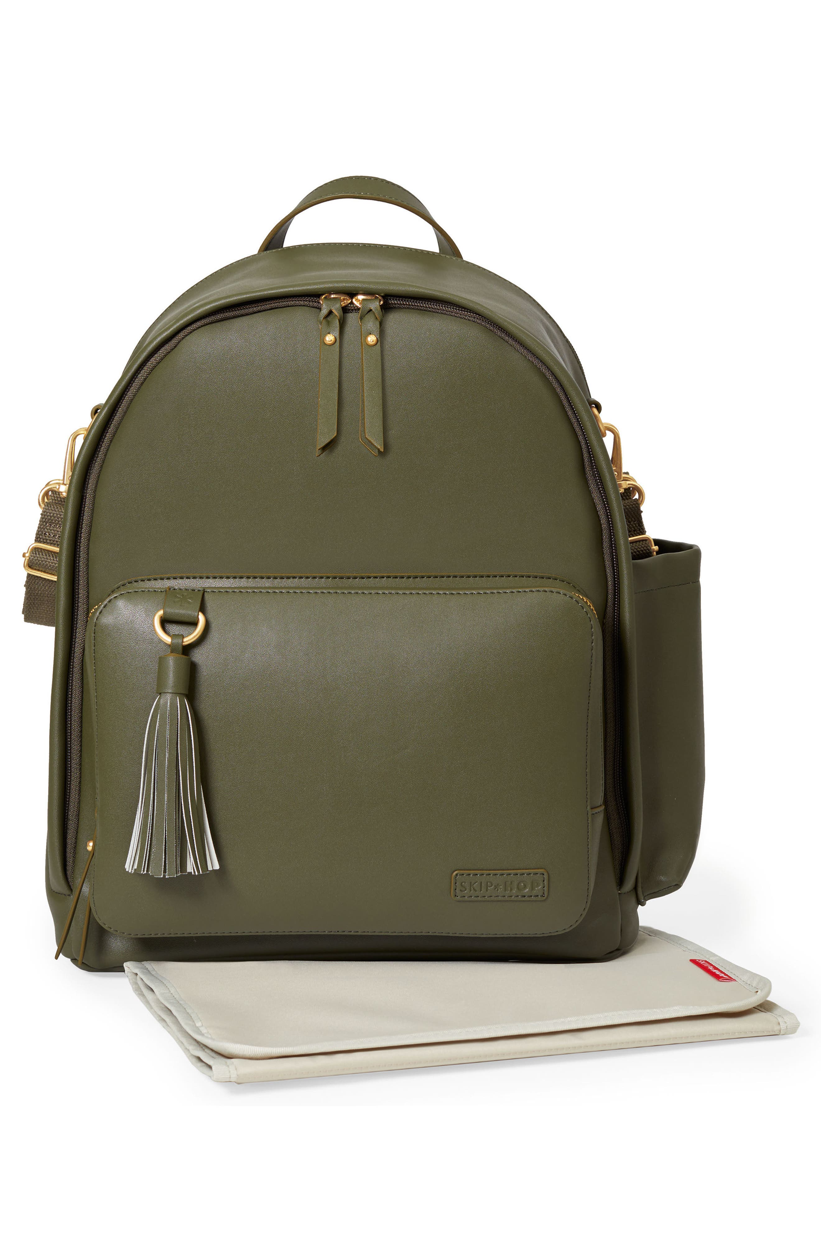 SKIP HOP,                             Greenwich Simply Chic Diaper Backpack,                             Alternate thumbnail 4, color,                             OLIVE