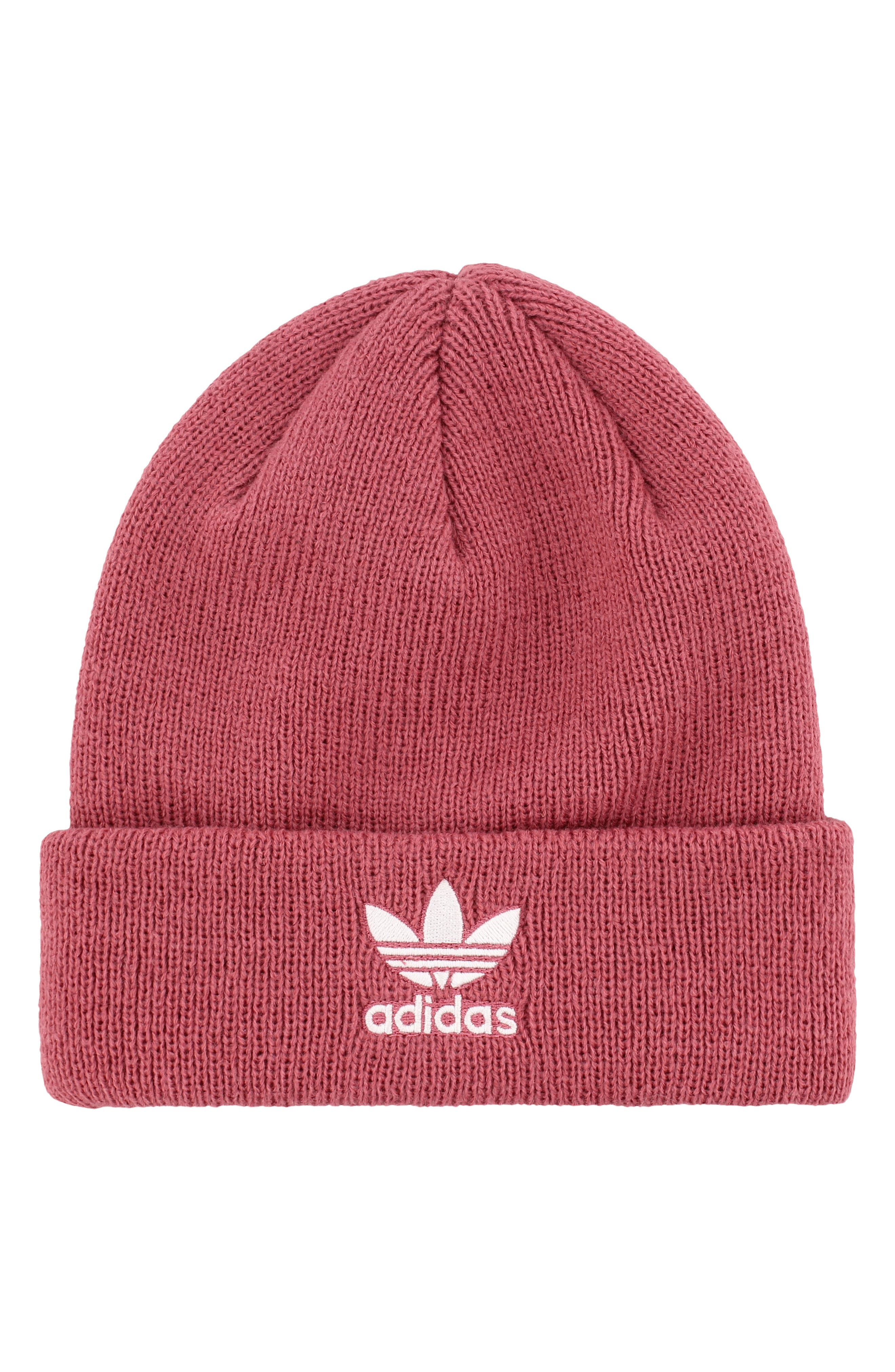 adidas Trefoil Beanie,                             Main thumbnail 1, color,                             TRACE MAROON PINK/ WHITE
