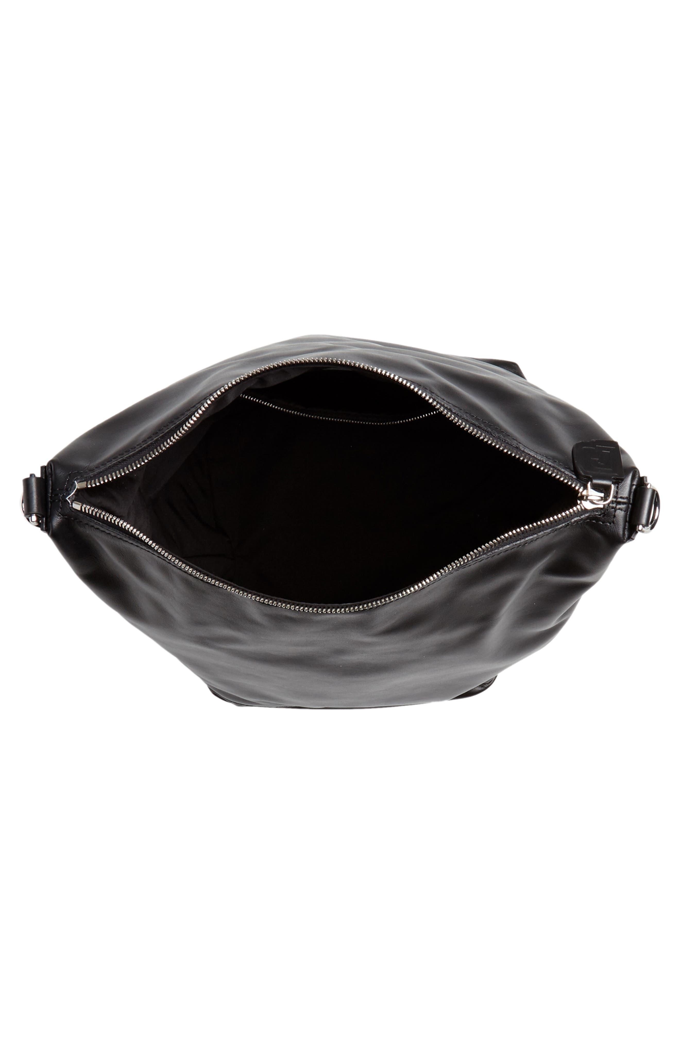 Faux Leather Convertible Hobo,                             Alternate thumbnail 5, color,                             BLACK/ BLACK