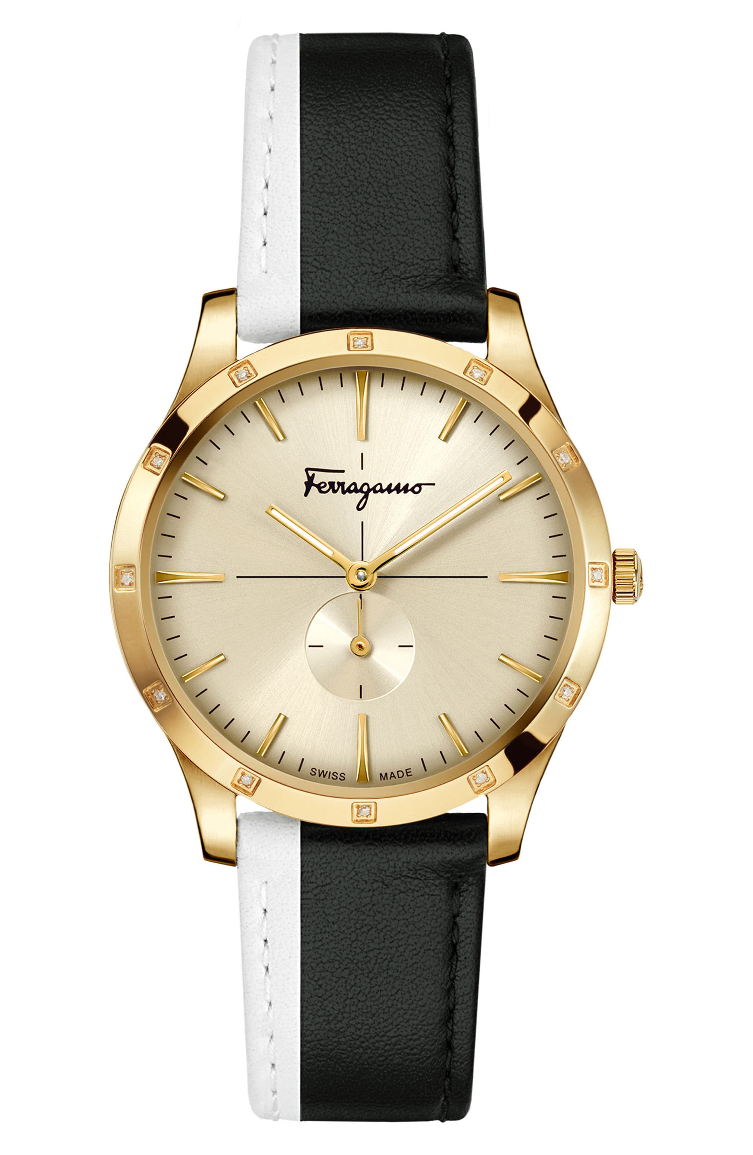 Slim Formal Leather Strap Watch, 35mm, Main, color, SILVER/ GREY/ GOLD