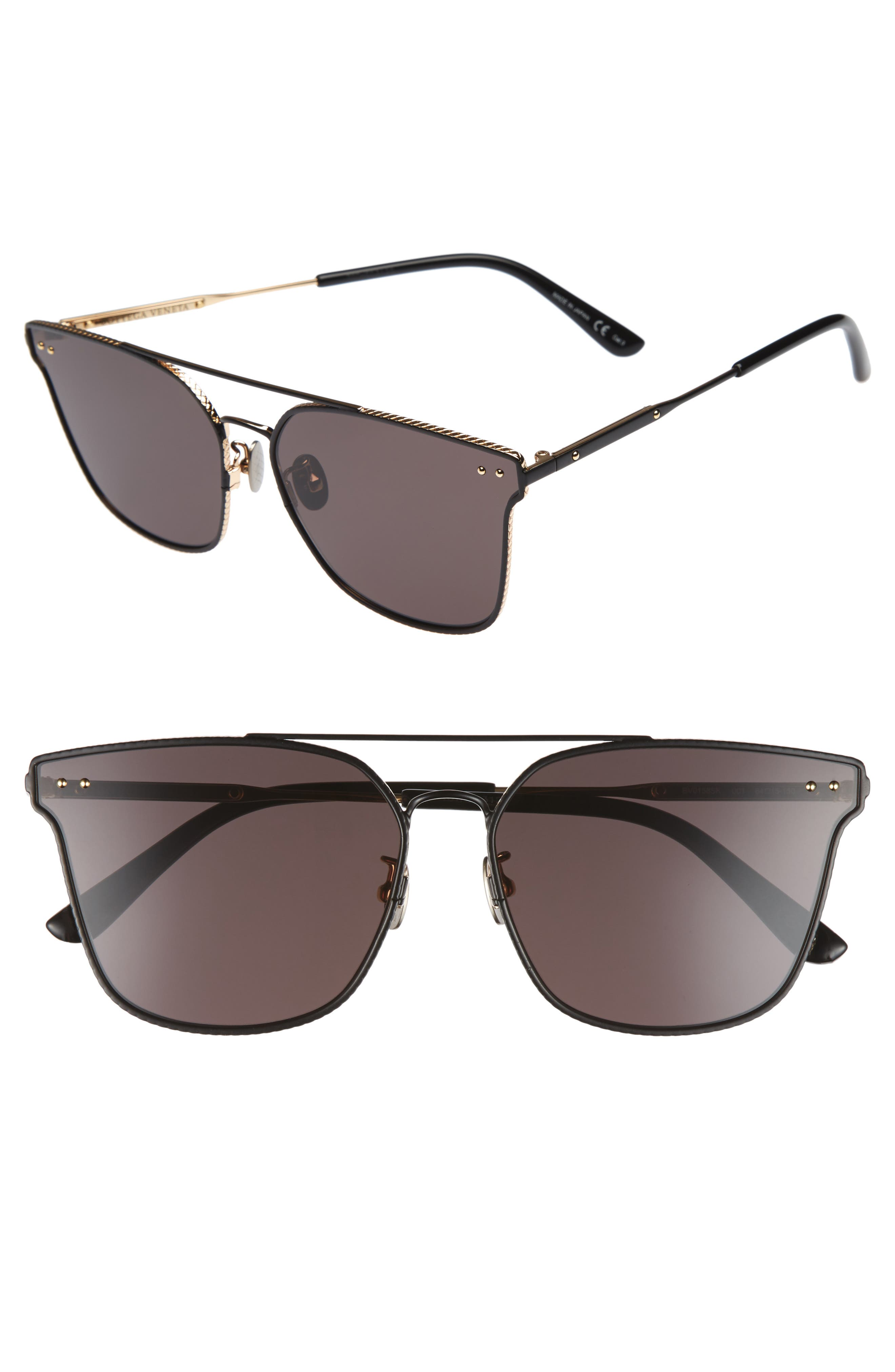 64mm Sunglasses,                         Main,                         color, BLACK
