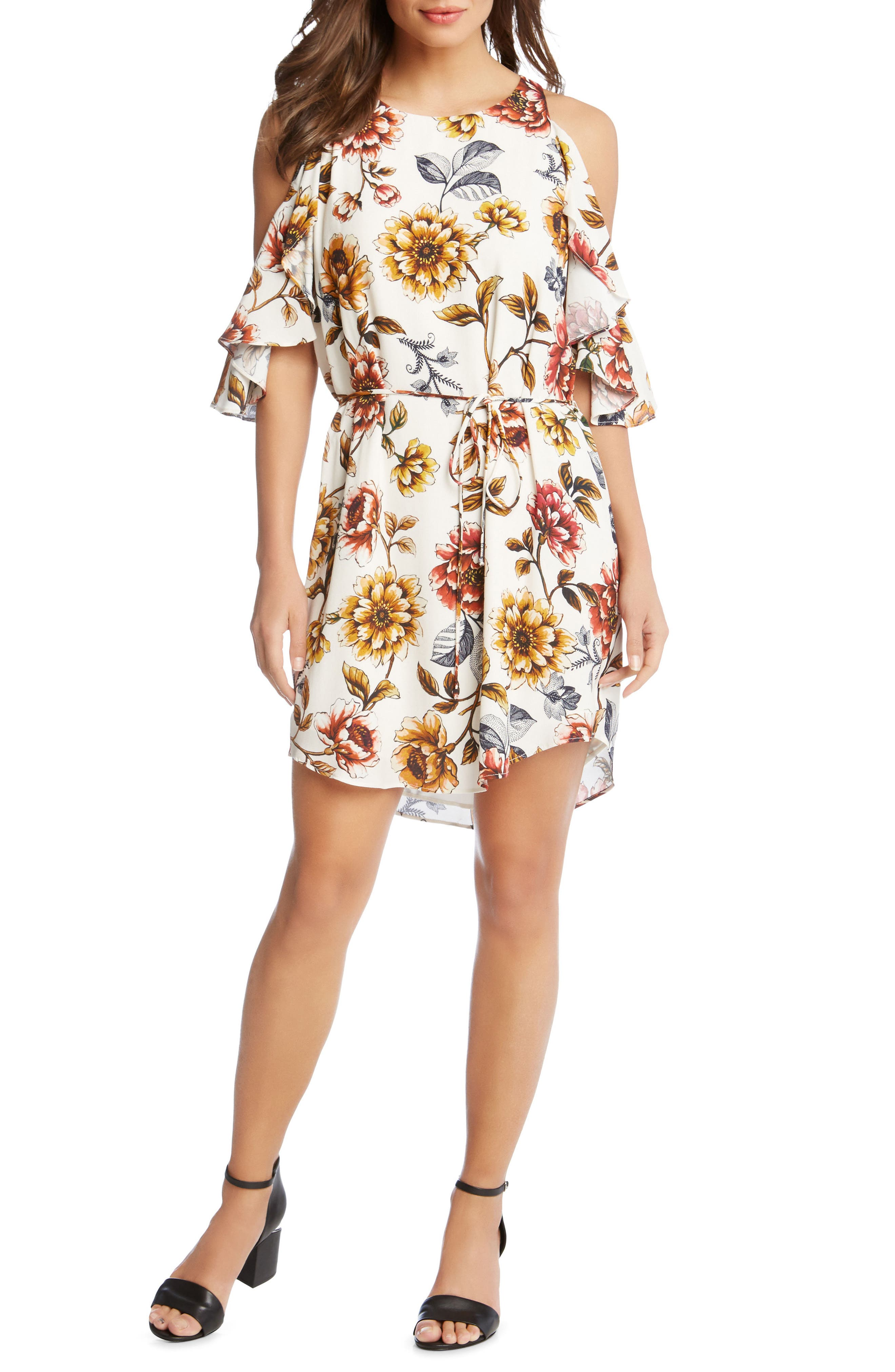 Kane Kane Cold Shoulder Floral Dress,                             Main thumbnail 1, color,                             PRINT
