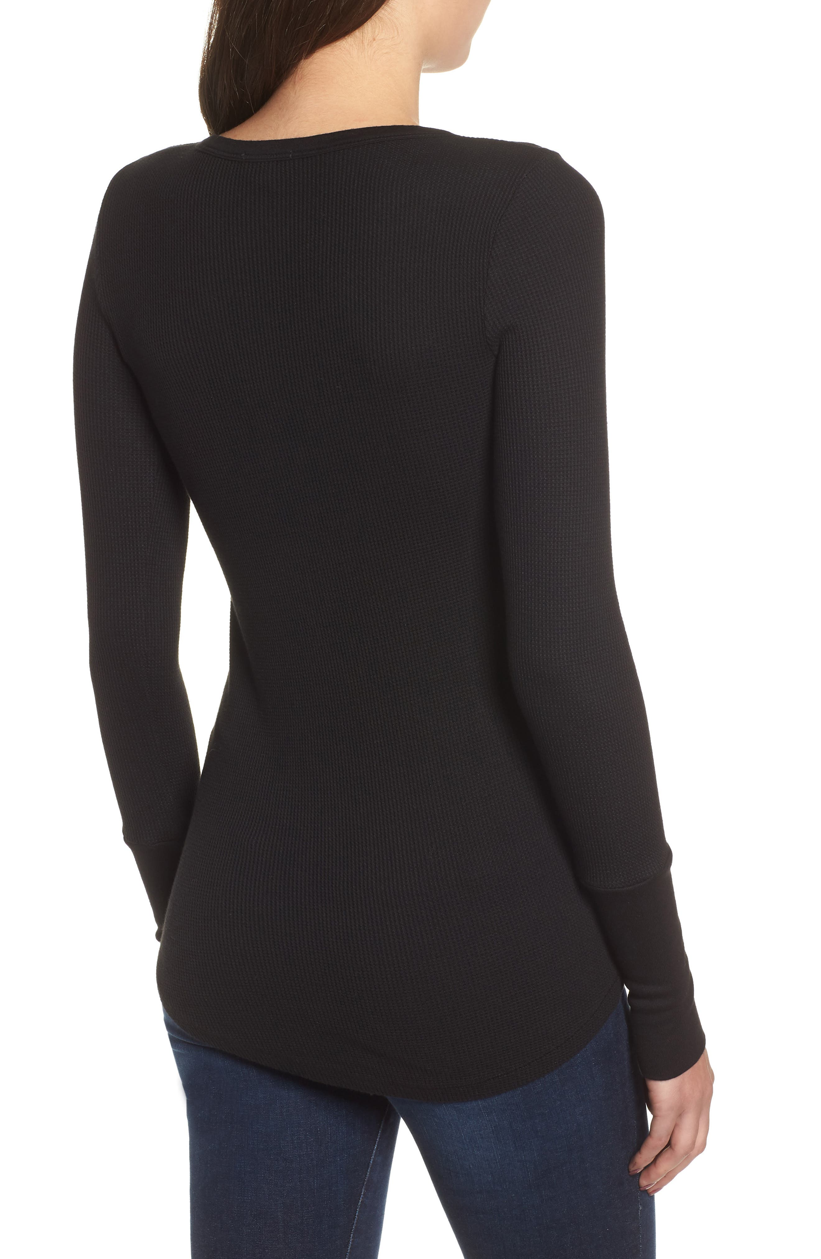 Classic Henley Thermal,                             Alternate thumbnail 2, color,                             BLACK