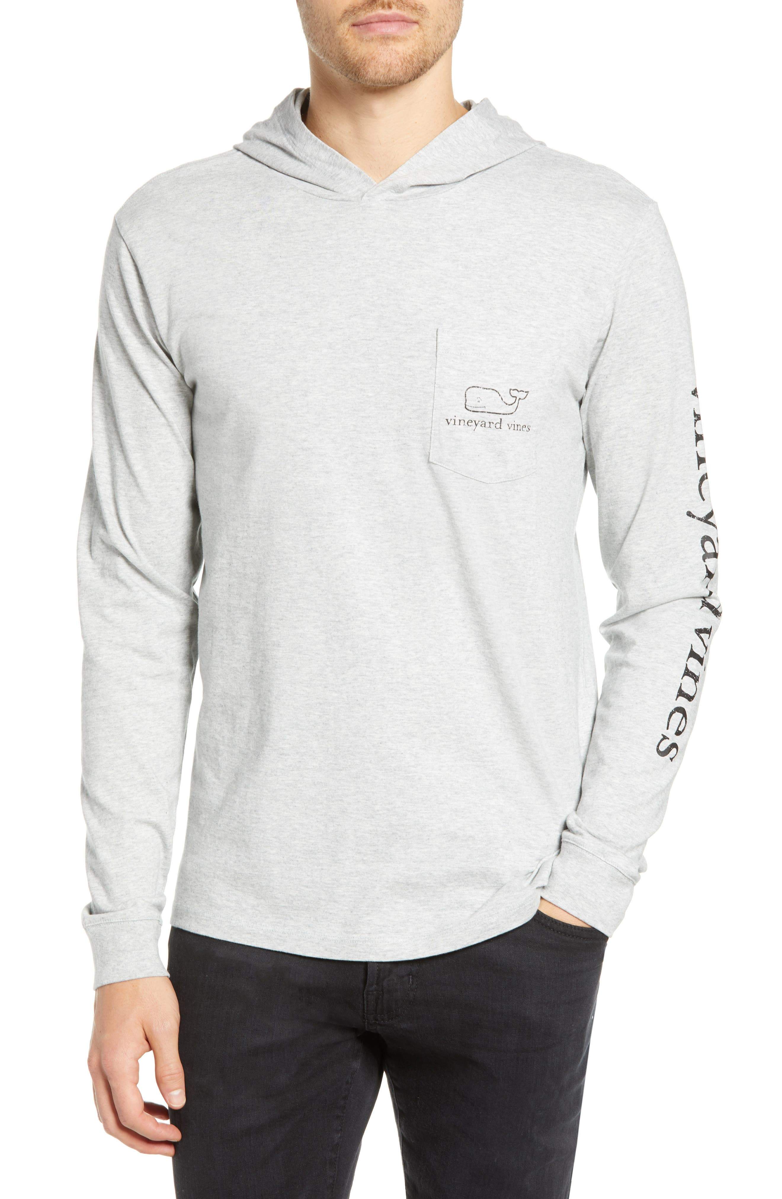 Whale Graphic Long Sleeve Hooded T-Shirt, Main, color, GREY HEATHER