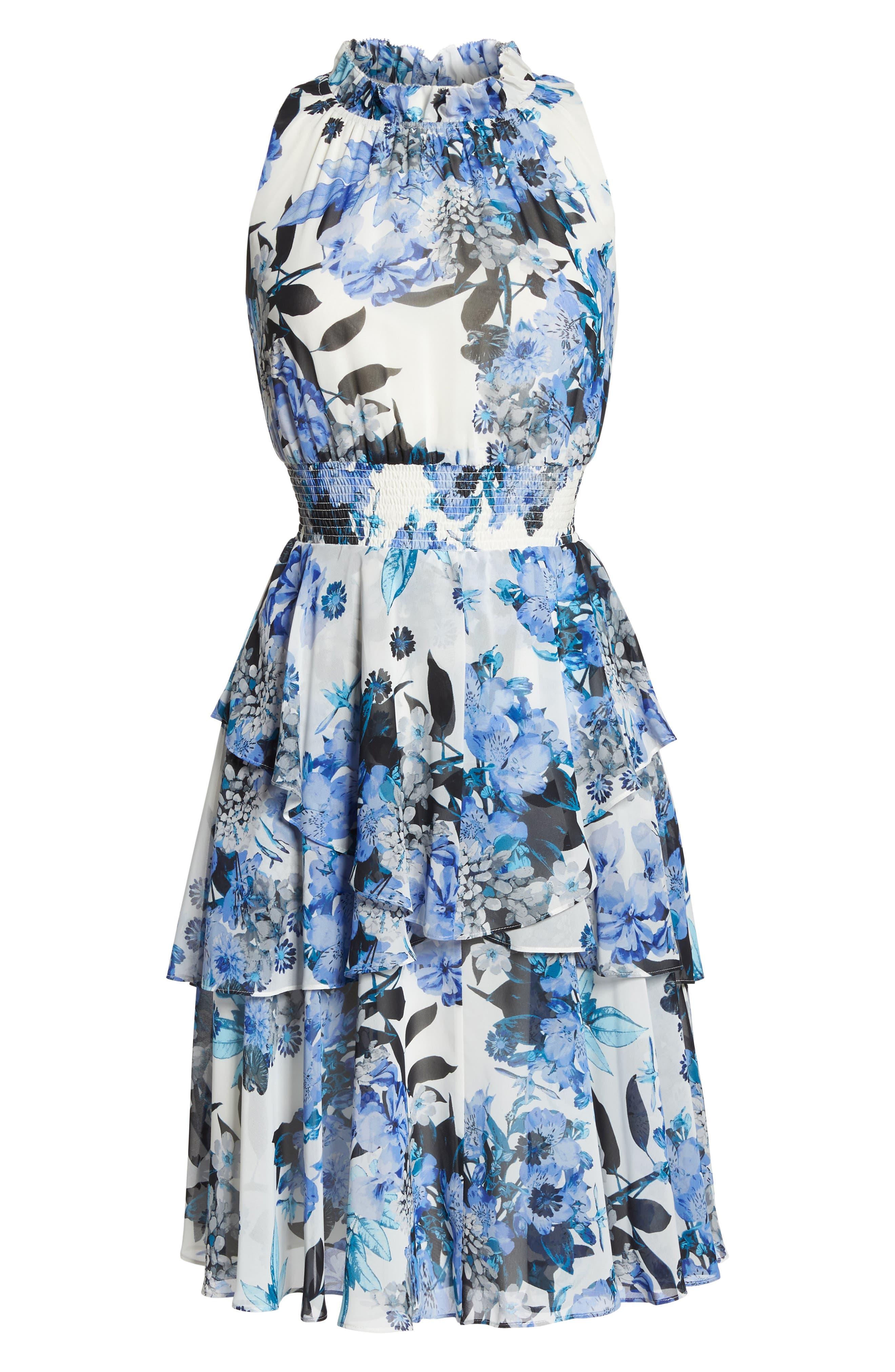 Smocked Waist Ruffle Chiffon Dress,                             Alternate thumbnail 7, color,                             421