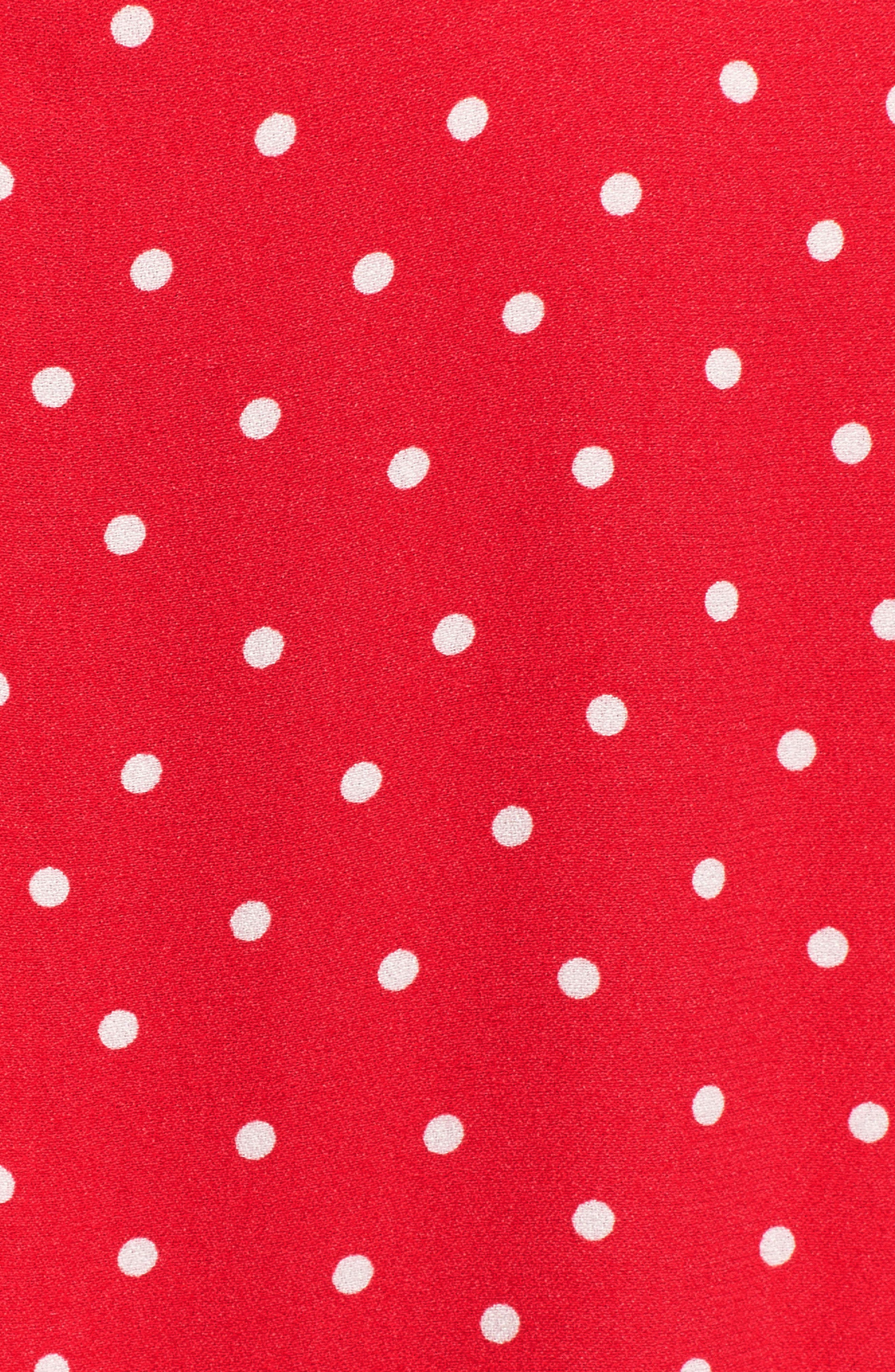 Marie Twisted Knot Front Maxi Dress,                             Alternate thumbnail 7, color,                             RED POLKA DOT