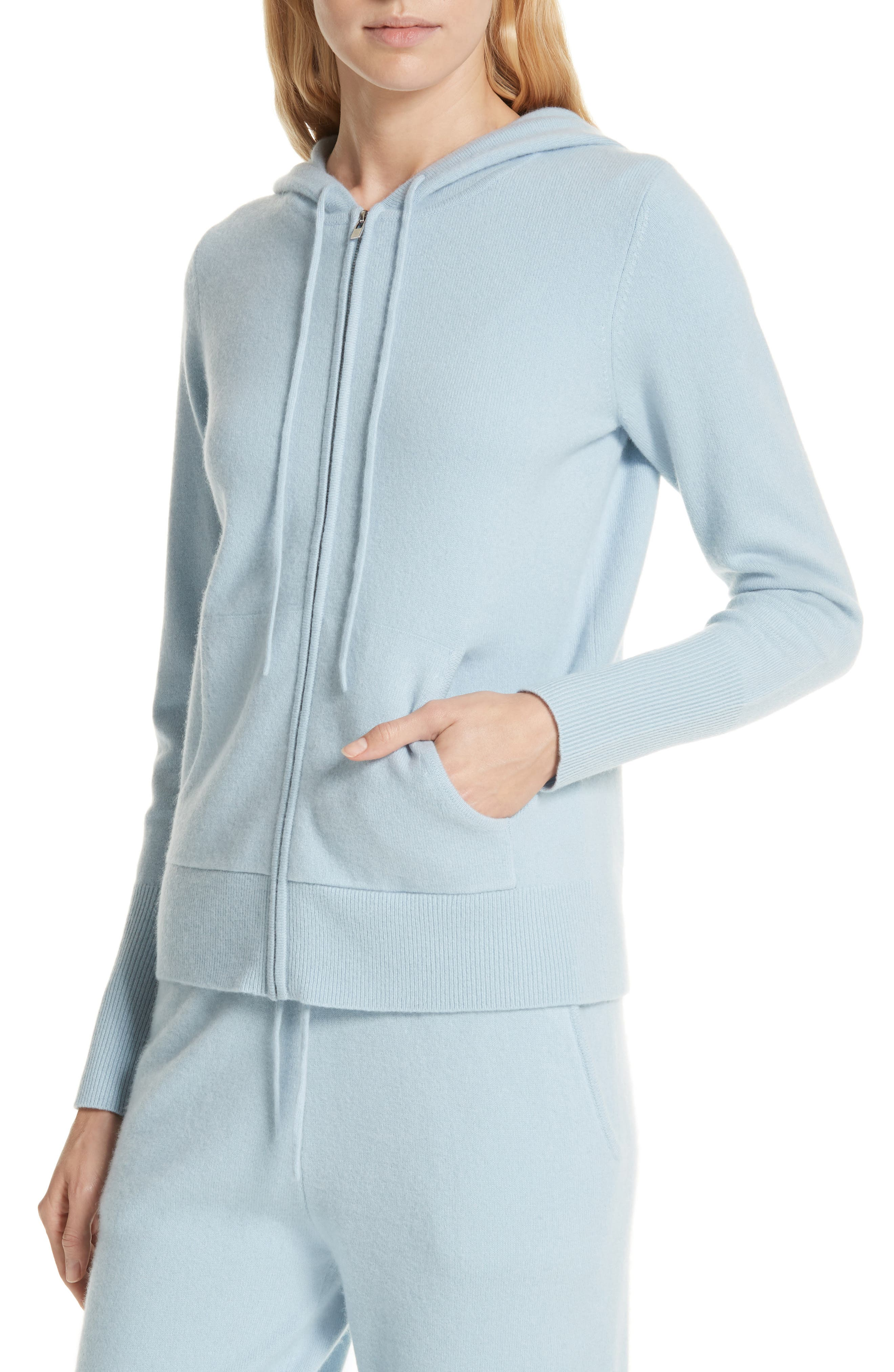 Cashmere Blend Zip Front Hoodie,                             Alternate thumbnail 4, color,                             BLUE FOG