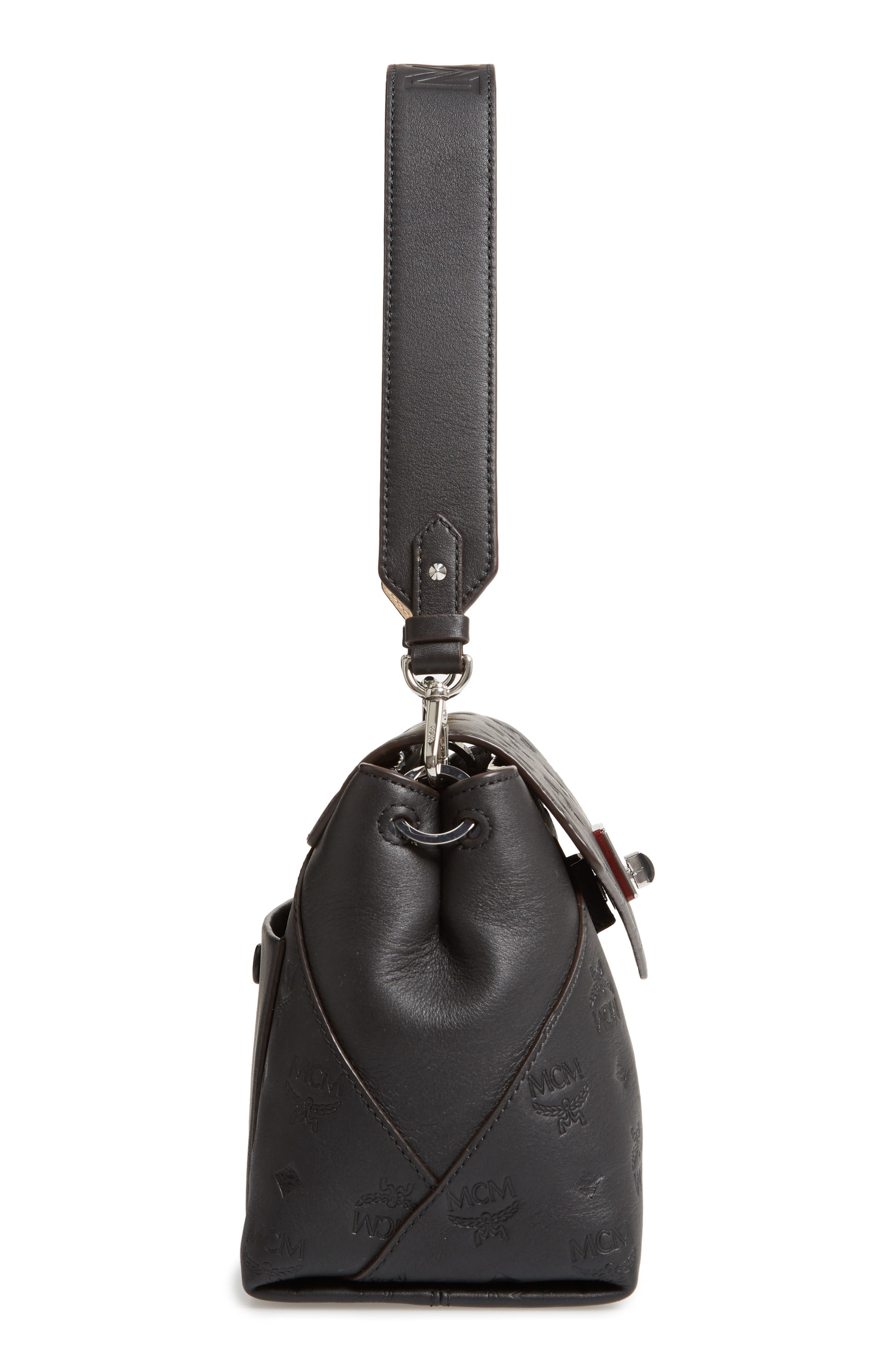 MCM,                             Essentials Monogram Leather Small Crossbody Bag,                             Alternate thumbnail 6, color,                             BLACK
