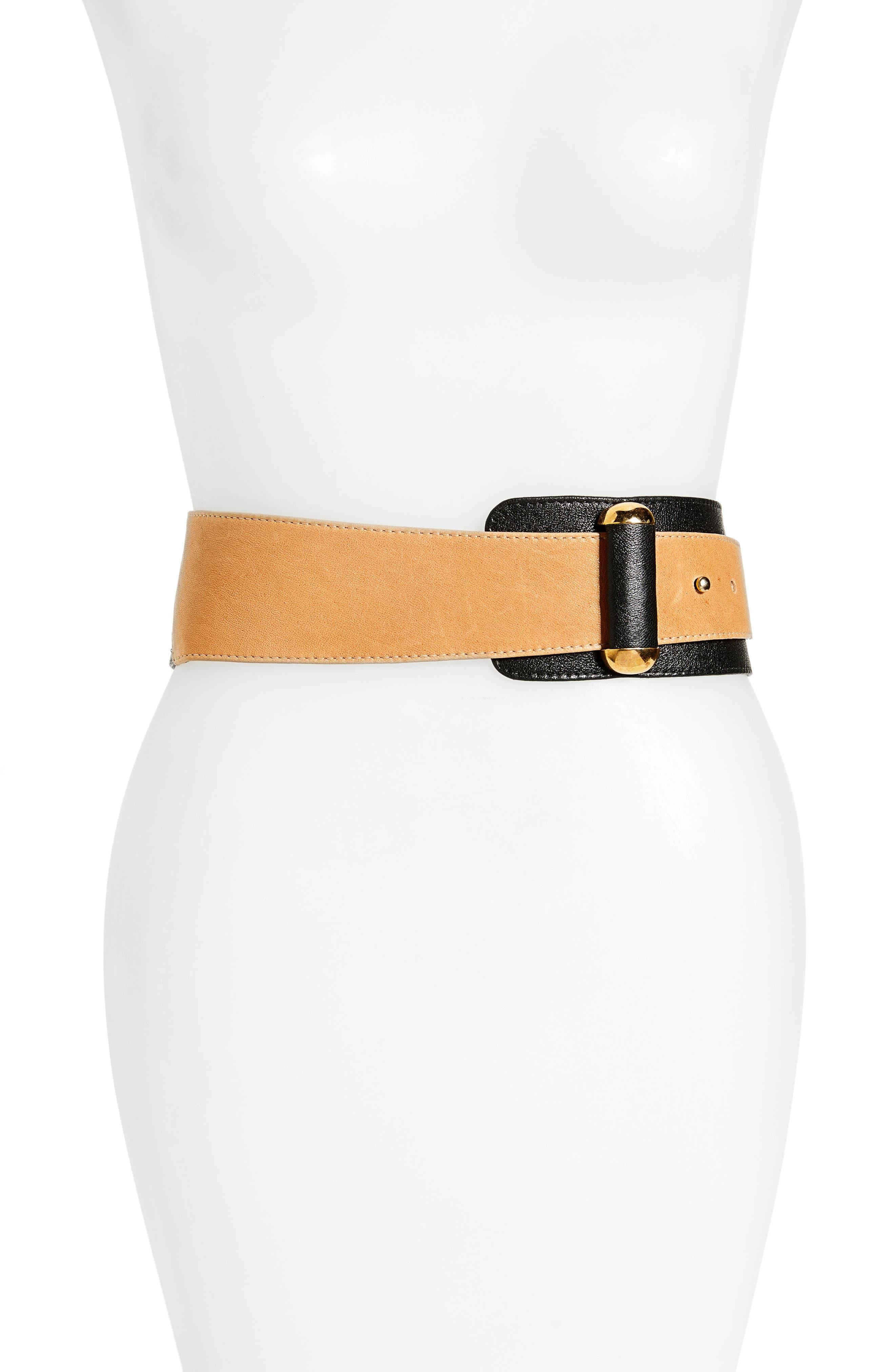 RAINA Vixen Leather Belt, Main, color, BLACK/ BROWN