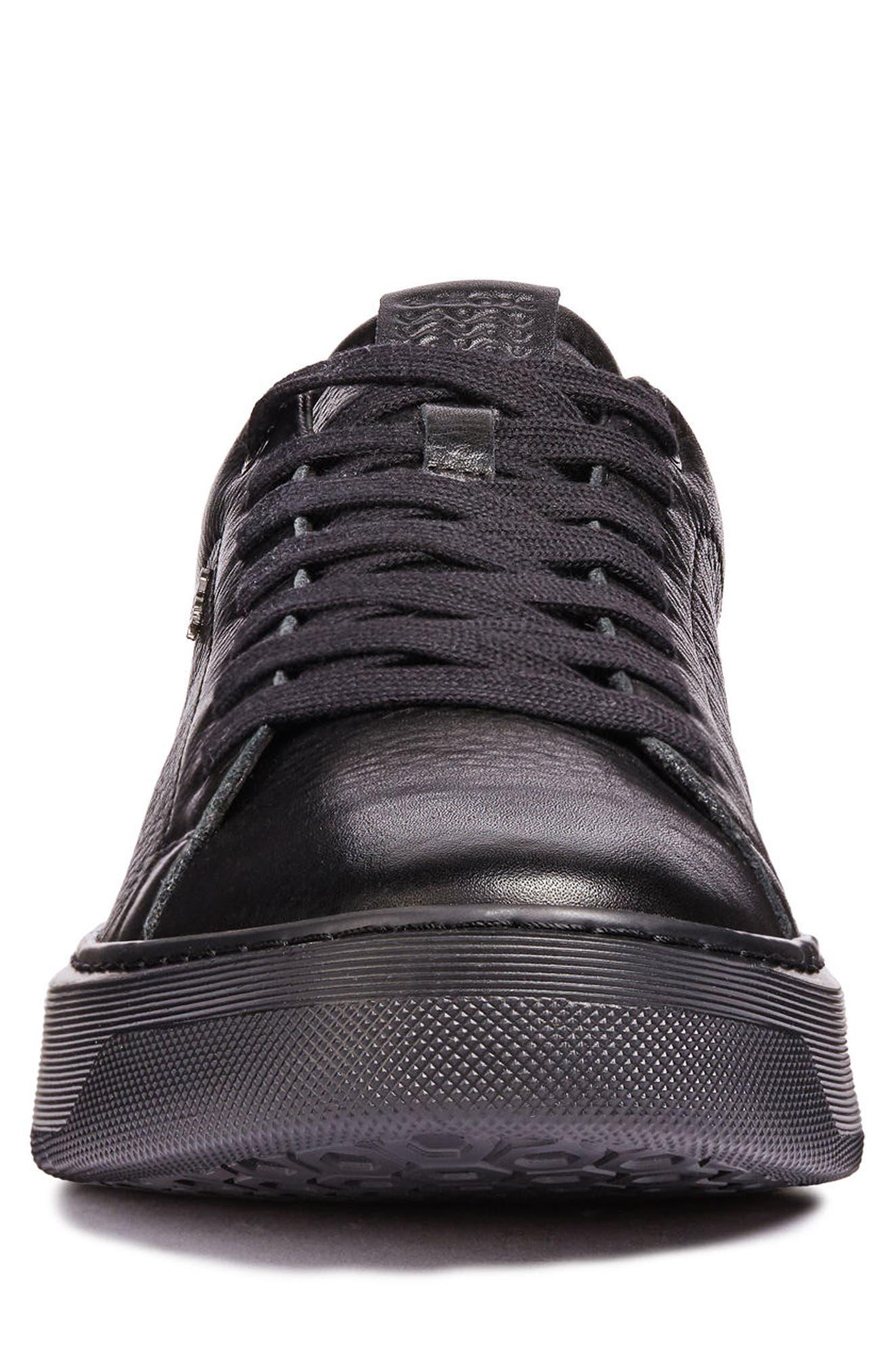 Deiven 4 Low Top Sneaker,                             Alternate thumbnail 4, color,                             BLACK LEATHER