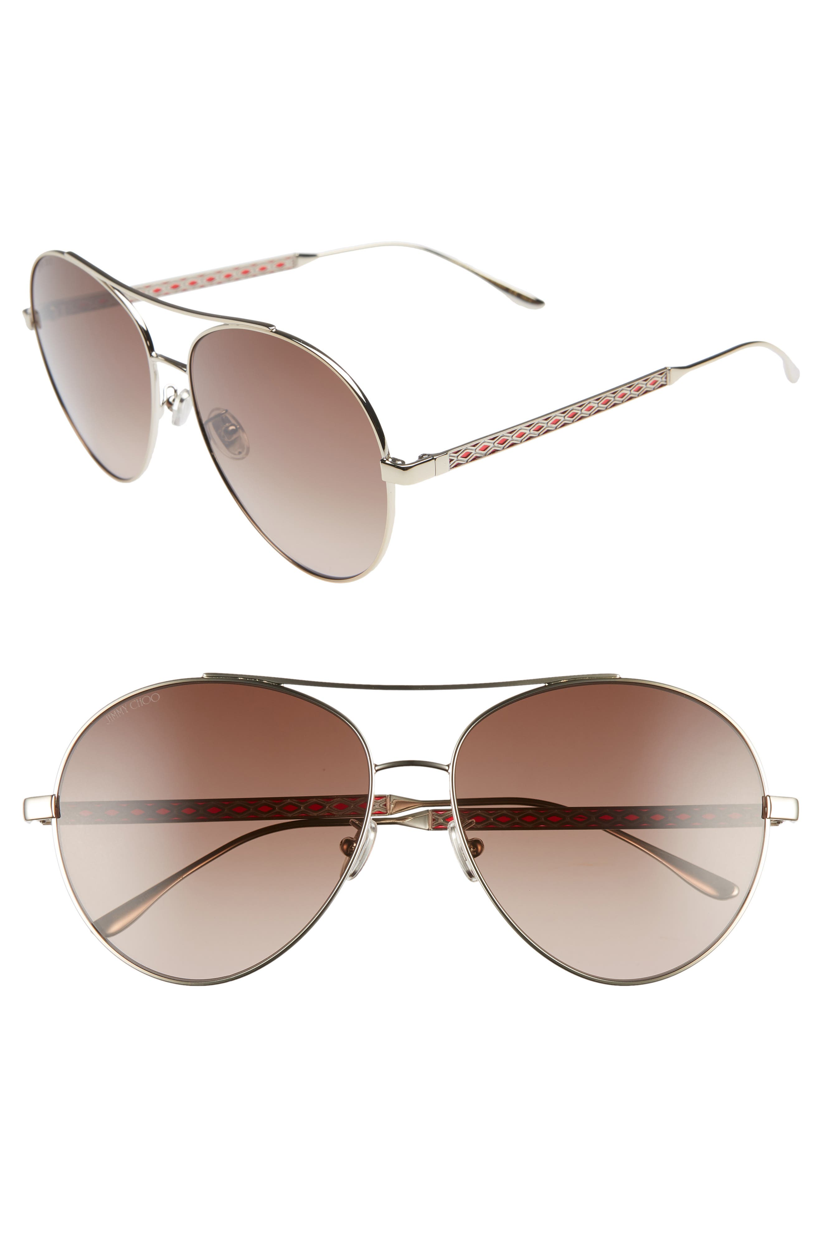 Noria 61Mm Special Fit Gradient Aviator Sunglasses - Gold/ Red