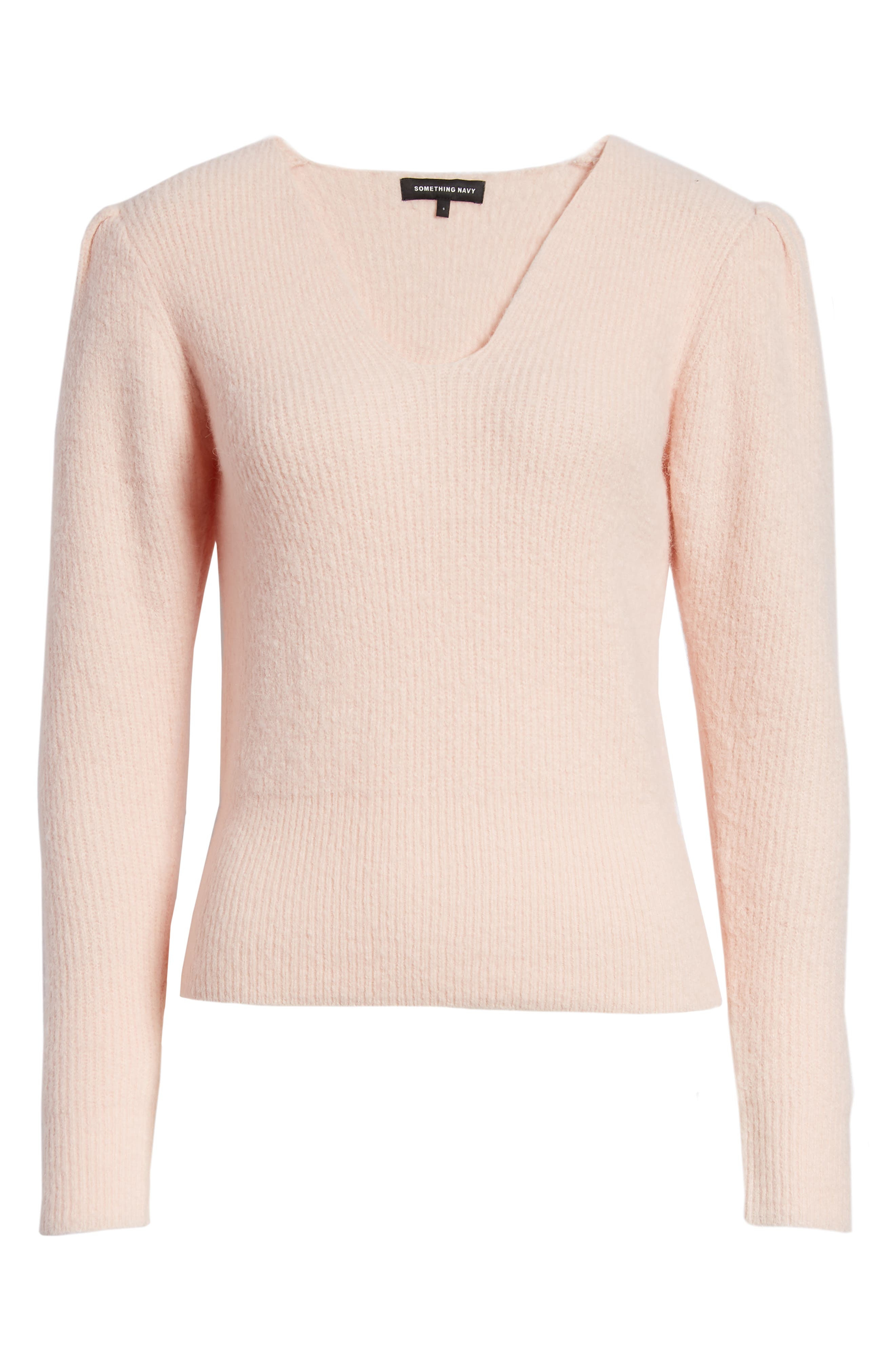 Puff Sleeve Sweater,                             Alternate thumbnail 6, color,                             PINK SEASHELL
