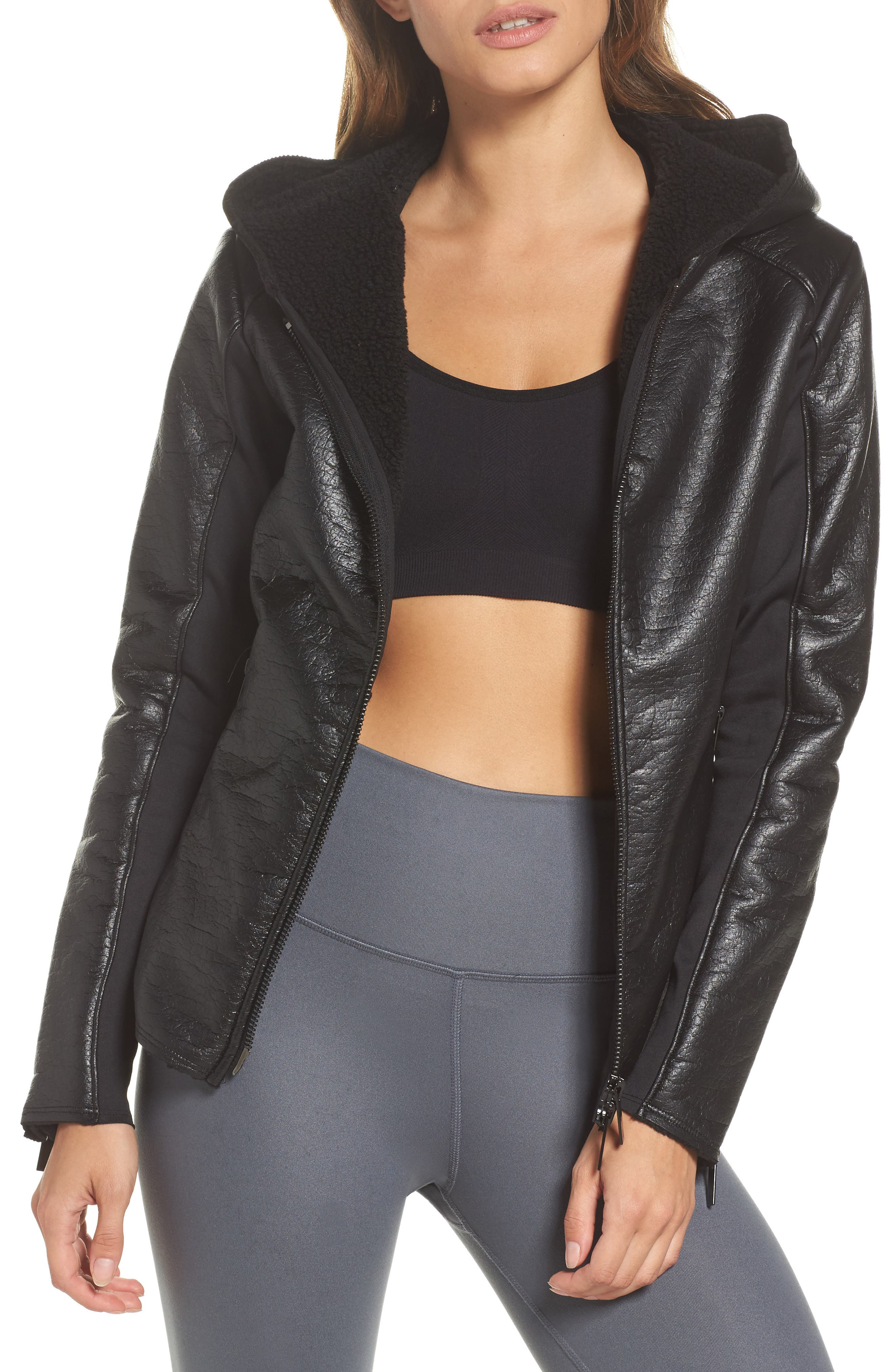 Fleece Lined Faux Leather Jacket,                         Main,                         color, 001
