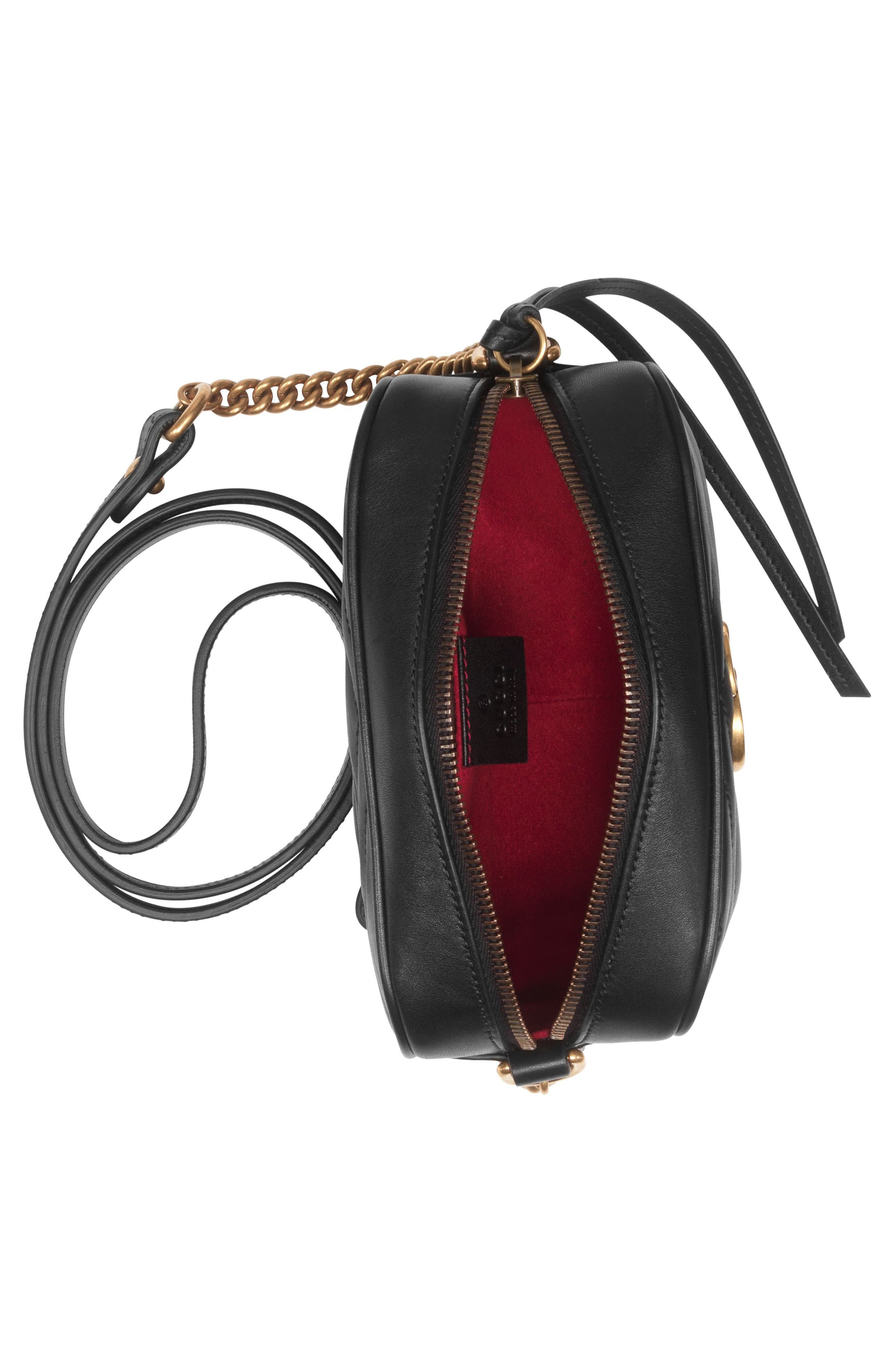 GG Marmont 2.0 Matelassé Leather Shoulder Bag,                             Alternate thumbnail 4, color,                             NERO