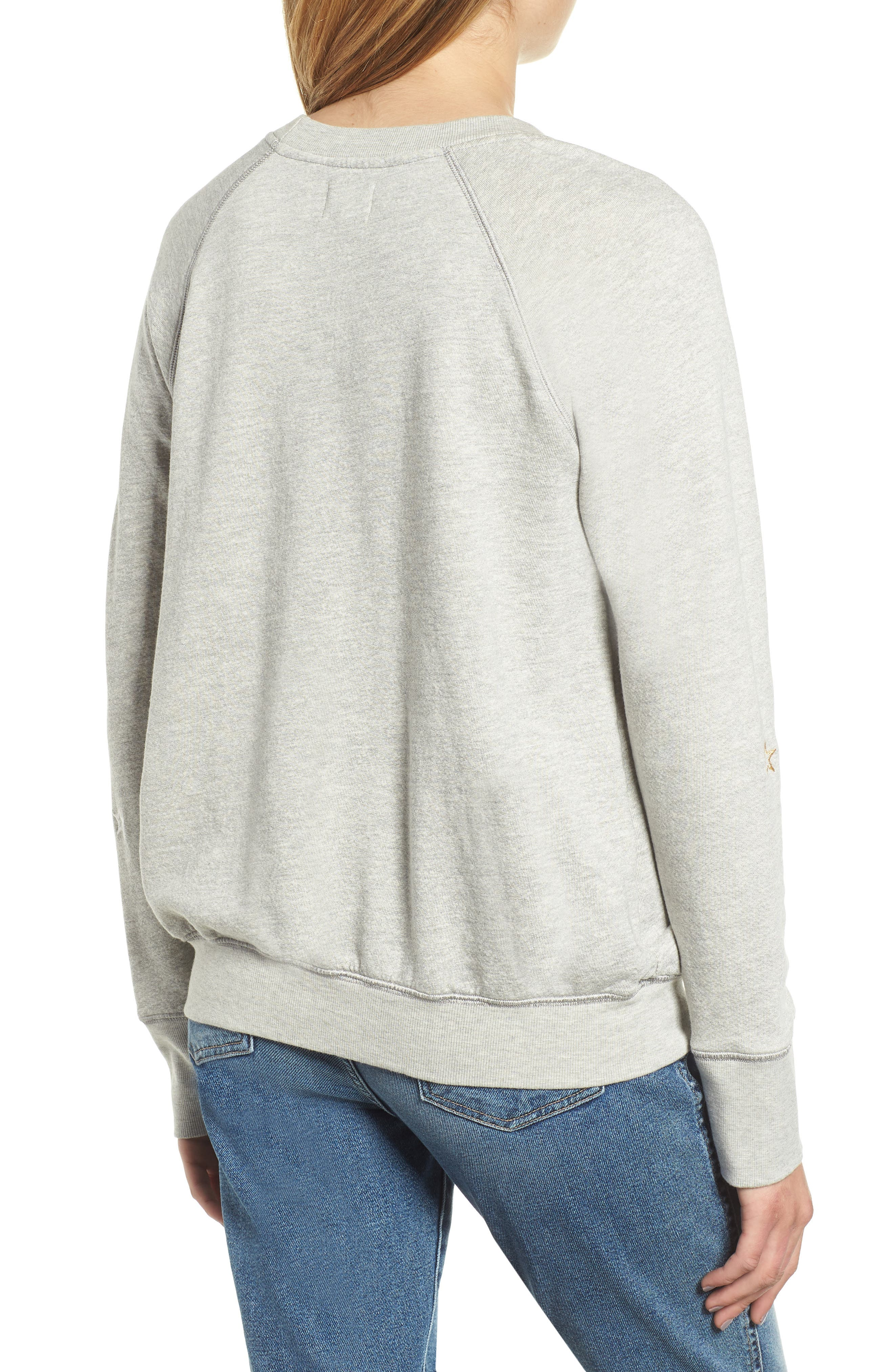 Star Embroidered Sweatshirt,                             Alternate thumbnail 2, color,                             HEATHER GREY