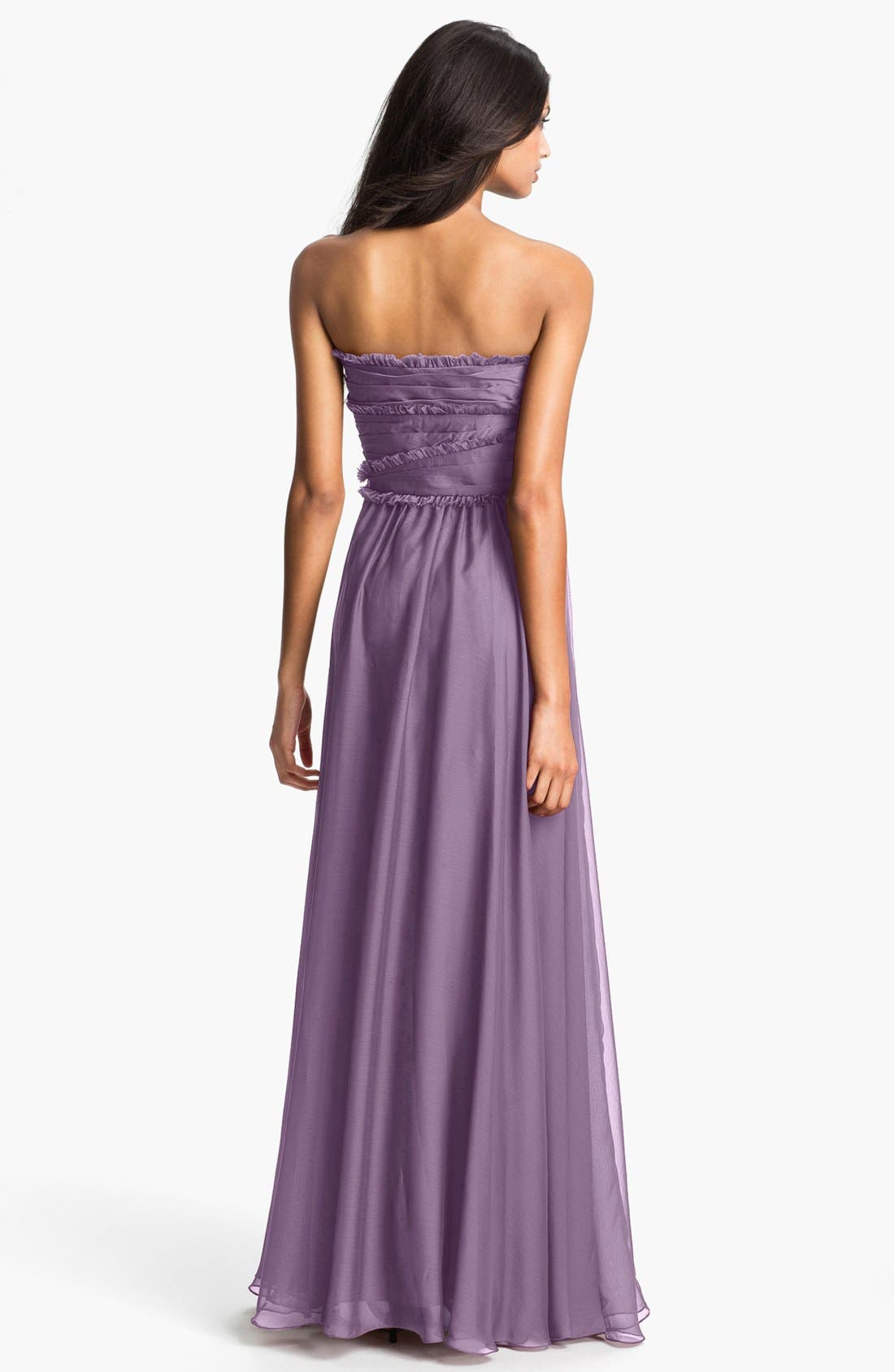 ML Monique Lhuillier Bridesmaids Strapless Chiffon Gown,                             Alternate thumbnail 28, color,