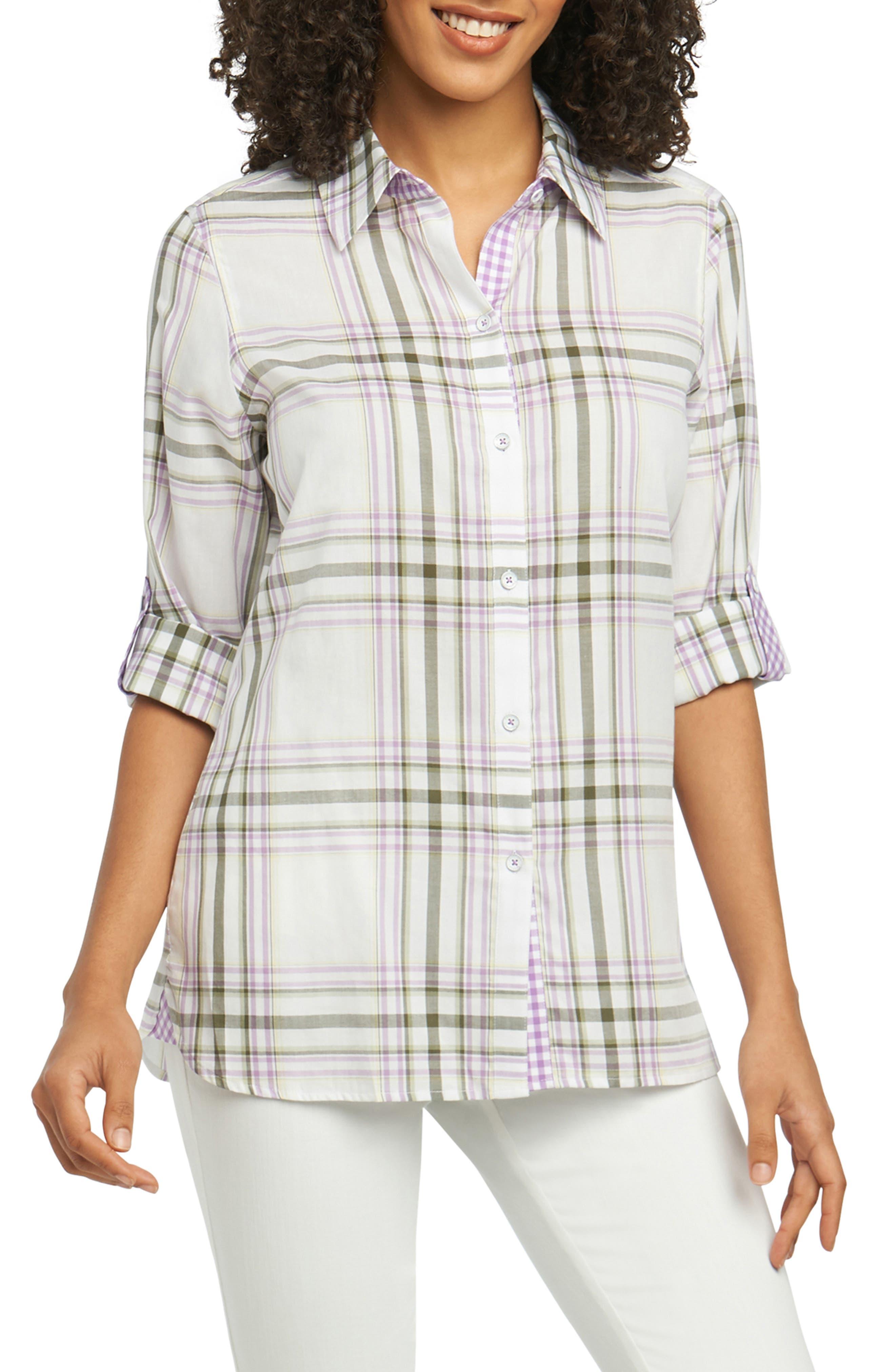 Tamara Herringbone Plaid Shirt,                         Main,                         color, 500