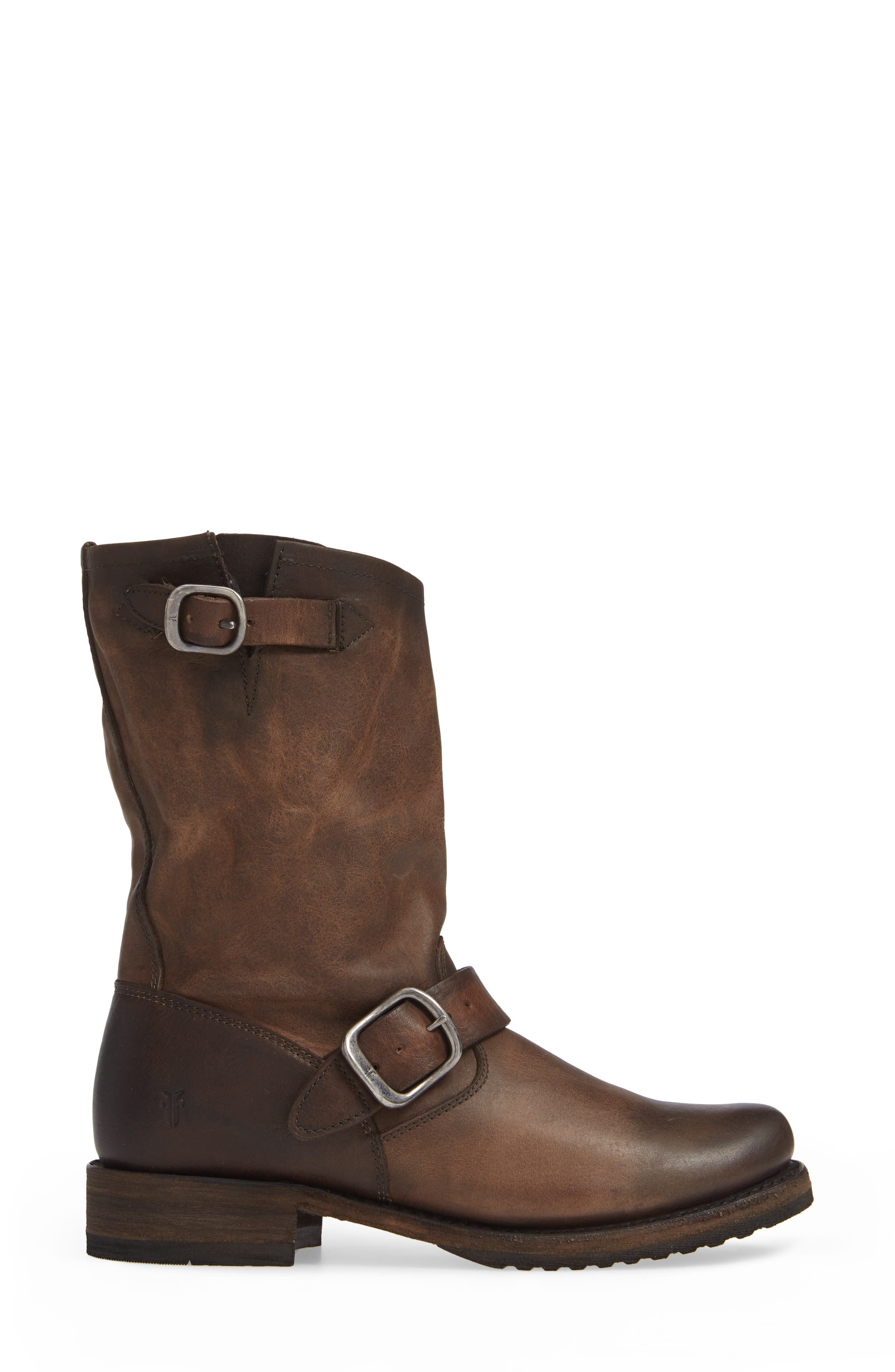 'Veronica' Short Boot,                             Alternate thumbnail 3, color,                             BROWN LEATHER