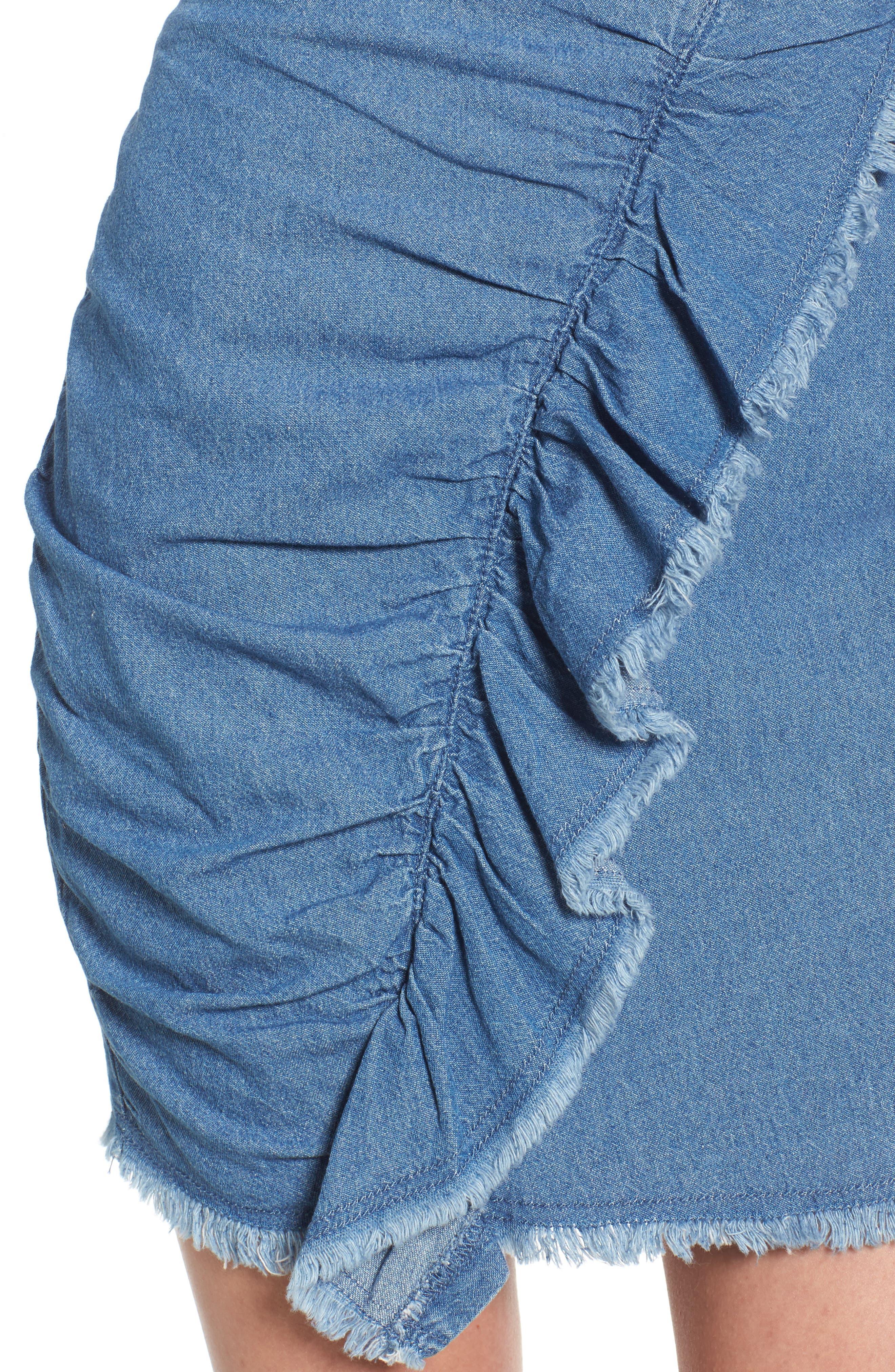 Ruffle Denim Miniskirt,                             Alternate thumbnail 4, color,                             459