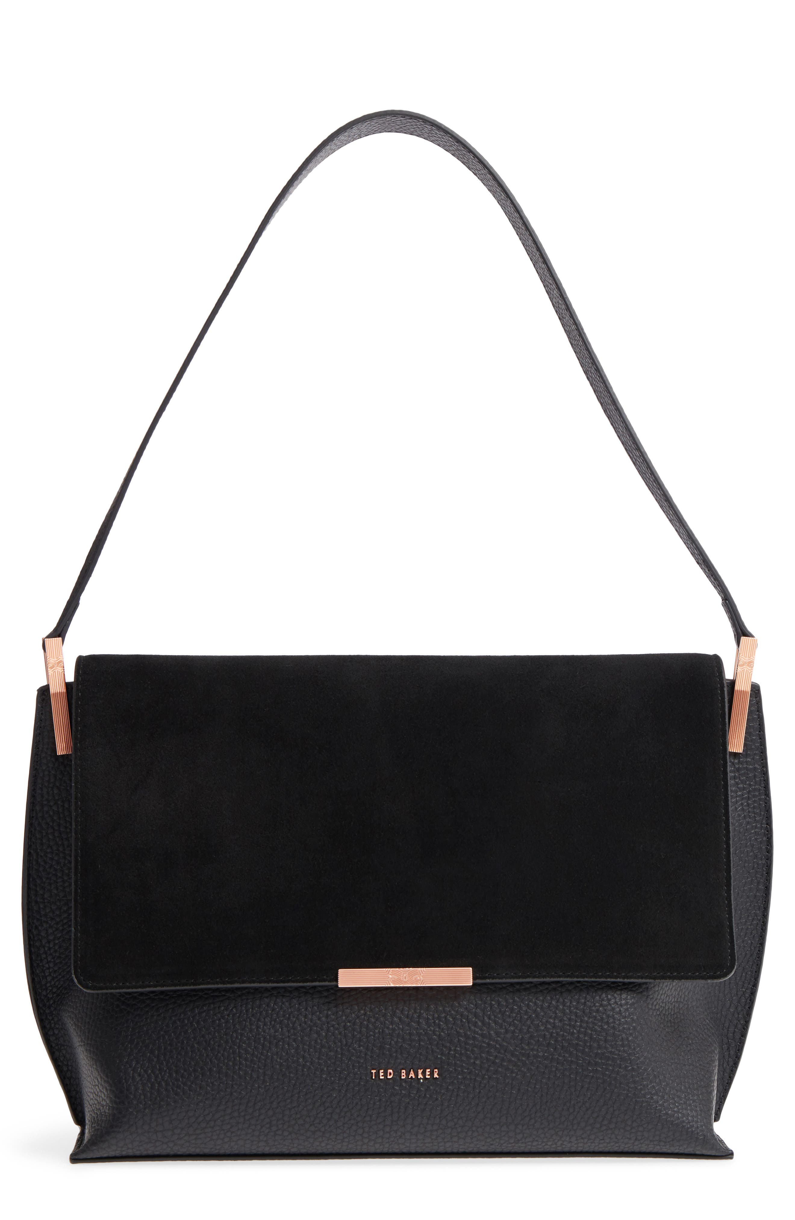 Katlynn Suede & Leather Shoulder Bag,                             Main thumbnail 1, color,                             BLACK