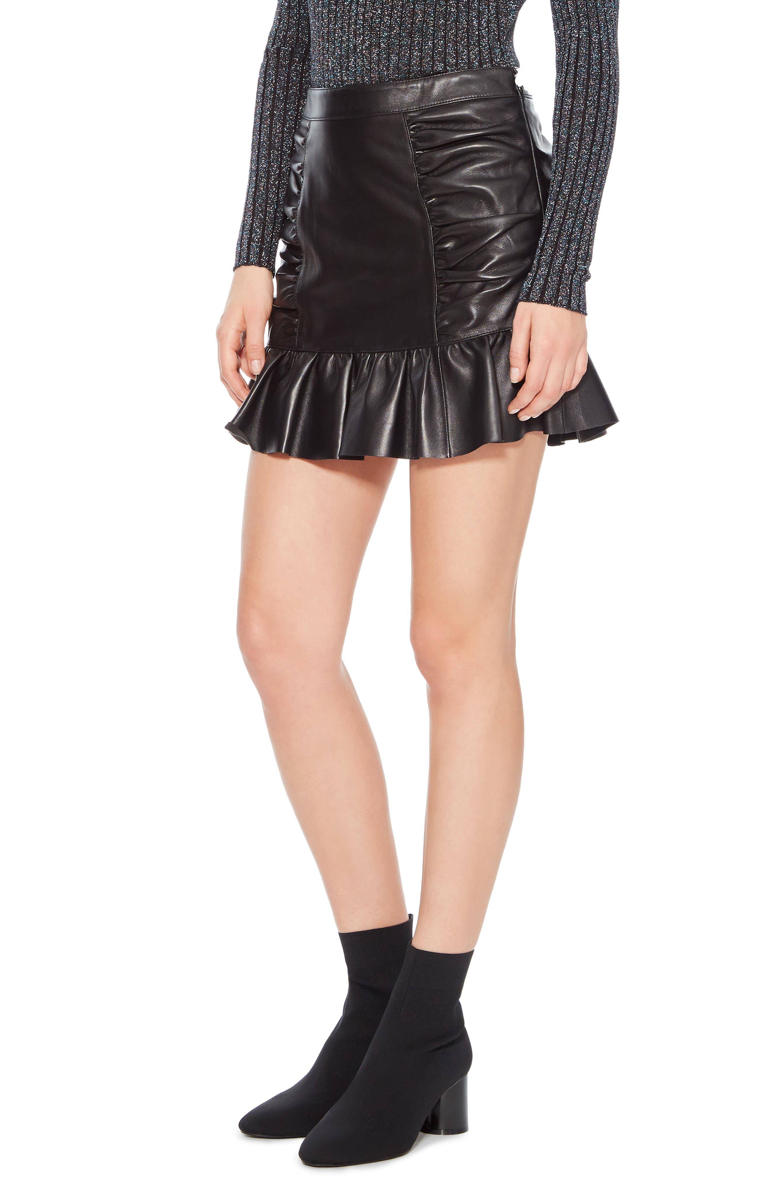 Alexandra Leather Ruffle Skirt,                             Alternate thumbnail 3, color,                             BLACK