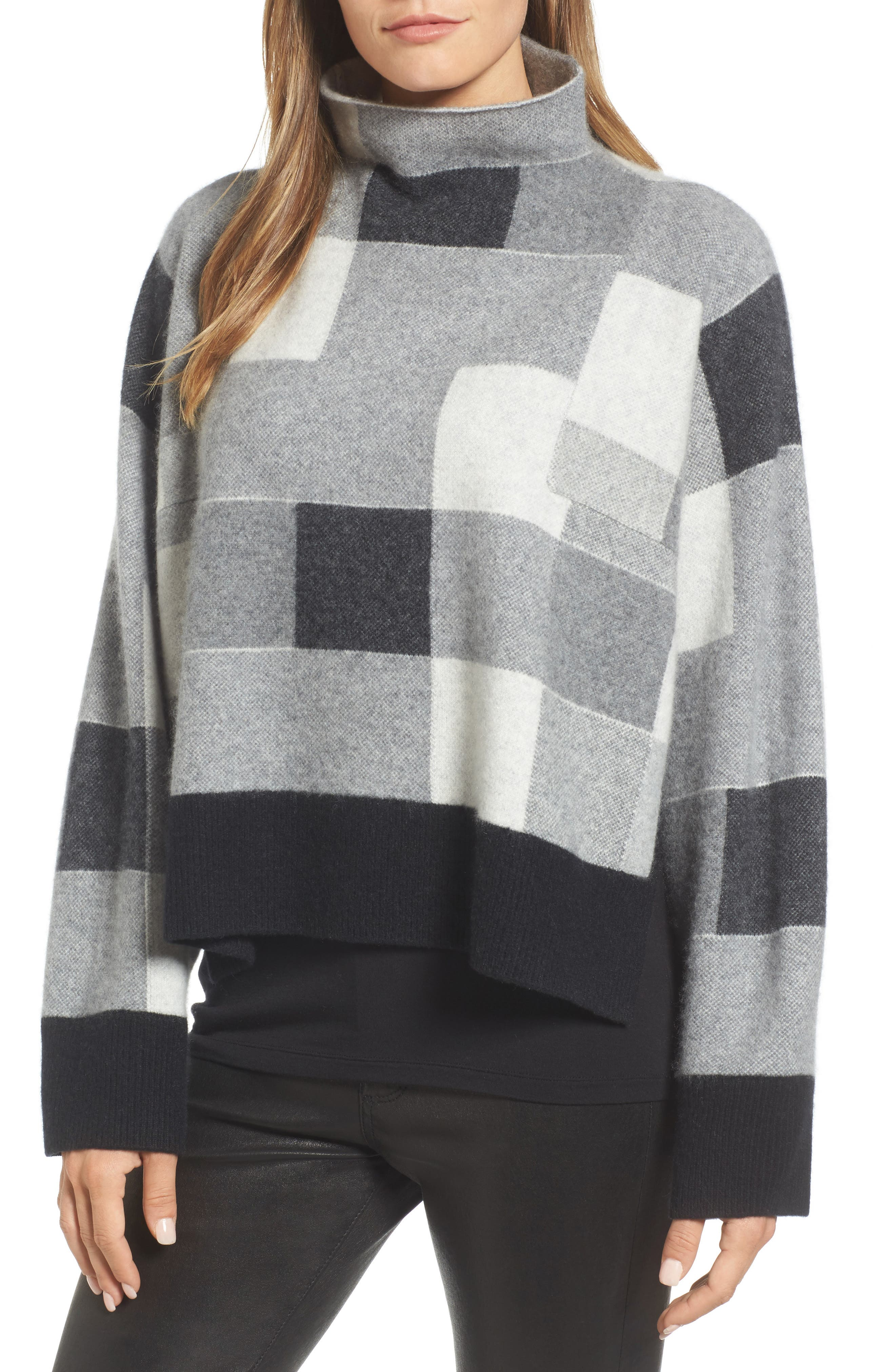 Check Plaid Cashmere Sweater,                             Main thumbnail 1, color,