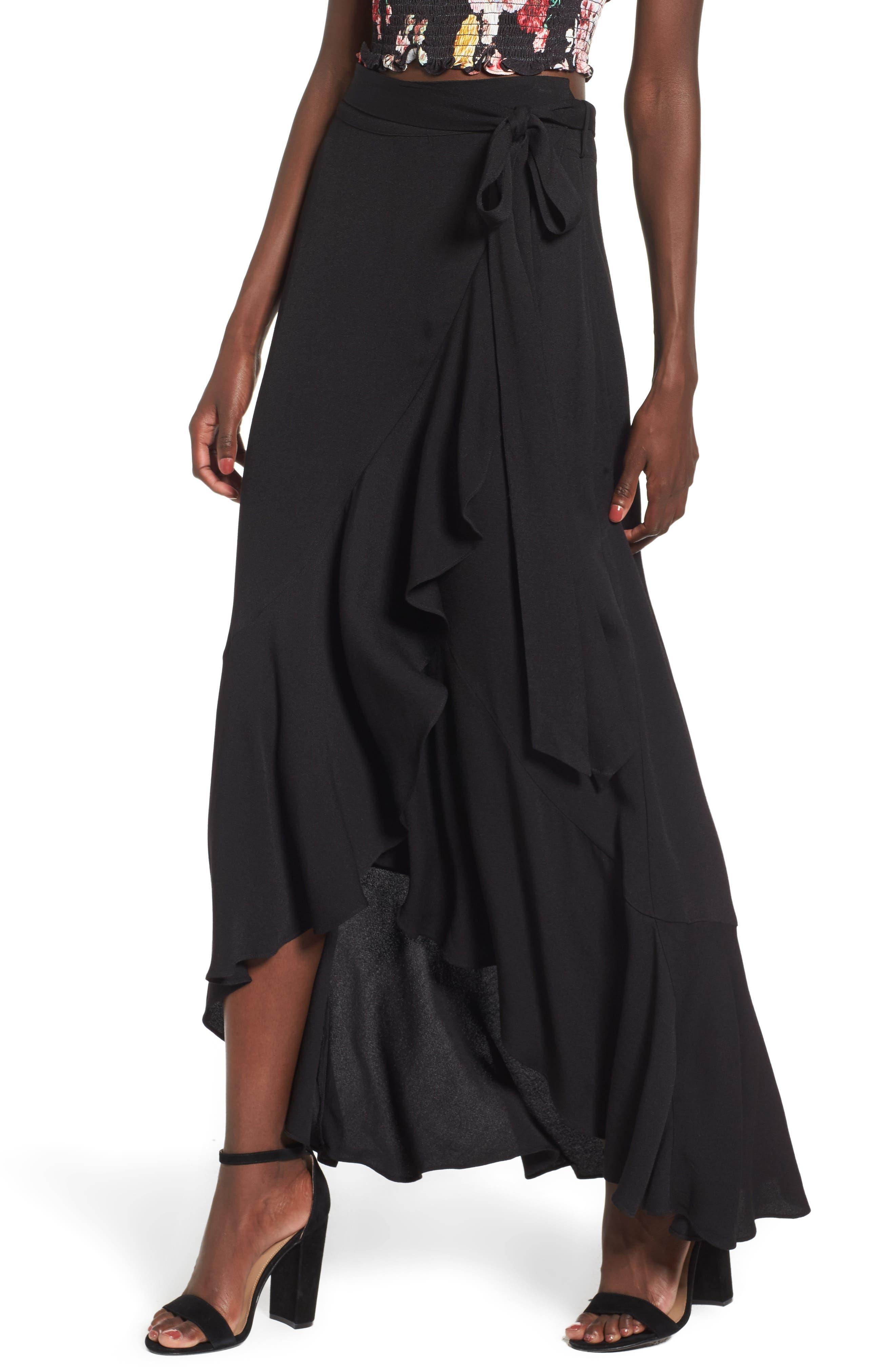 Amelia Ruffle Wrap Skirt,                             Main thumbnail 1, color,                             001