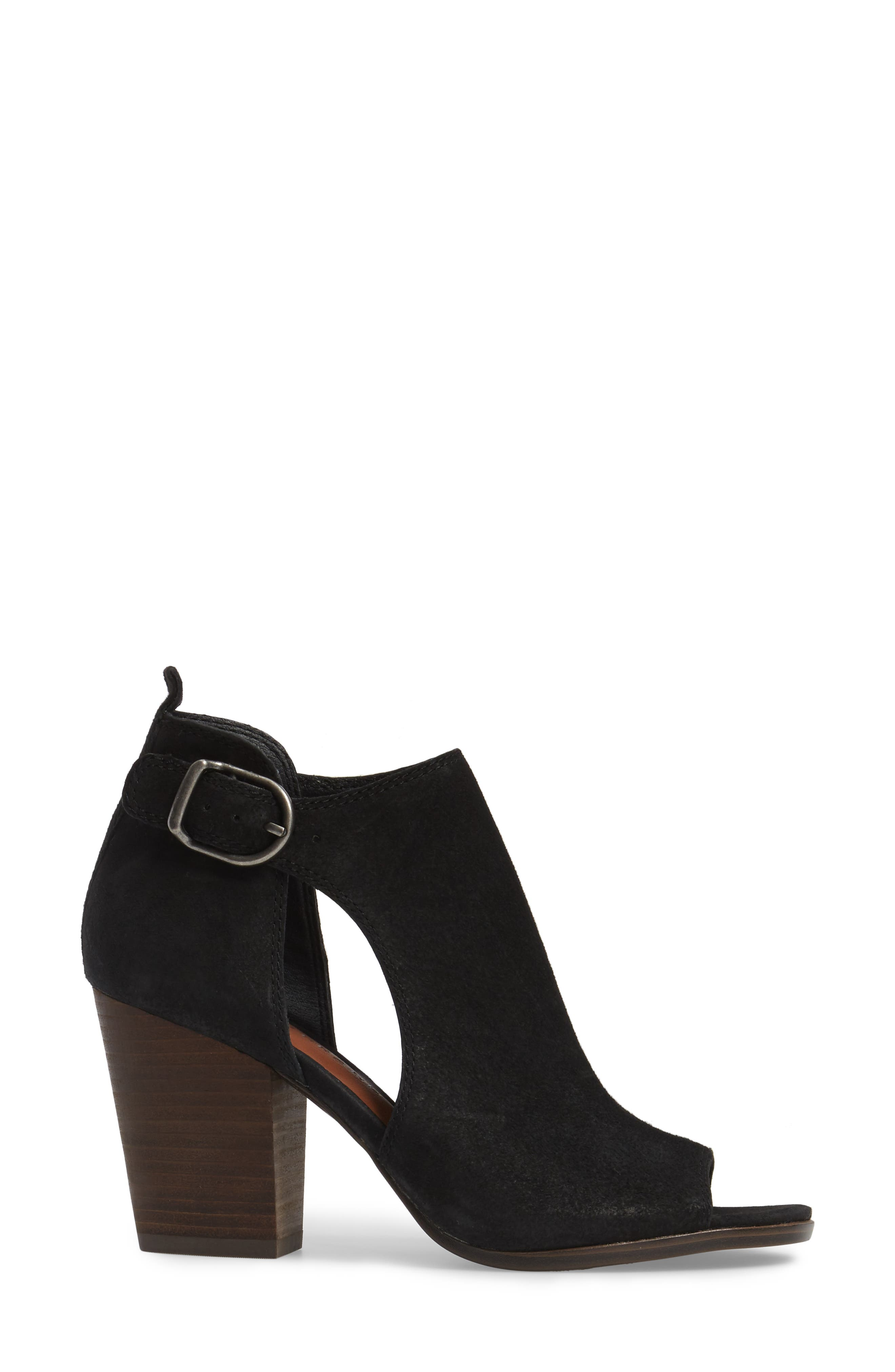 LUCKY BRAND,                             Oona Open Side Bootie,                             Alternate thumbnail 3, color,                             001