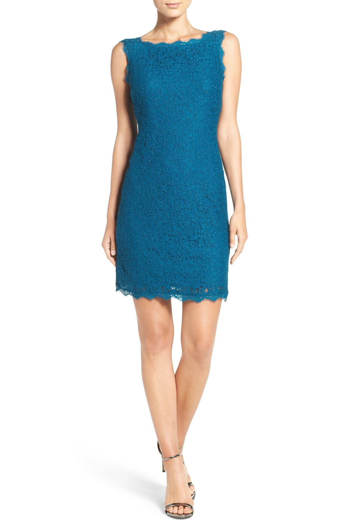 Boatneck Lace Sheath Dress,                             Alternate thumbnail 83, color,