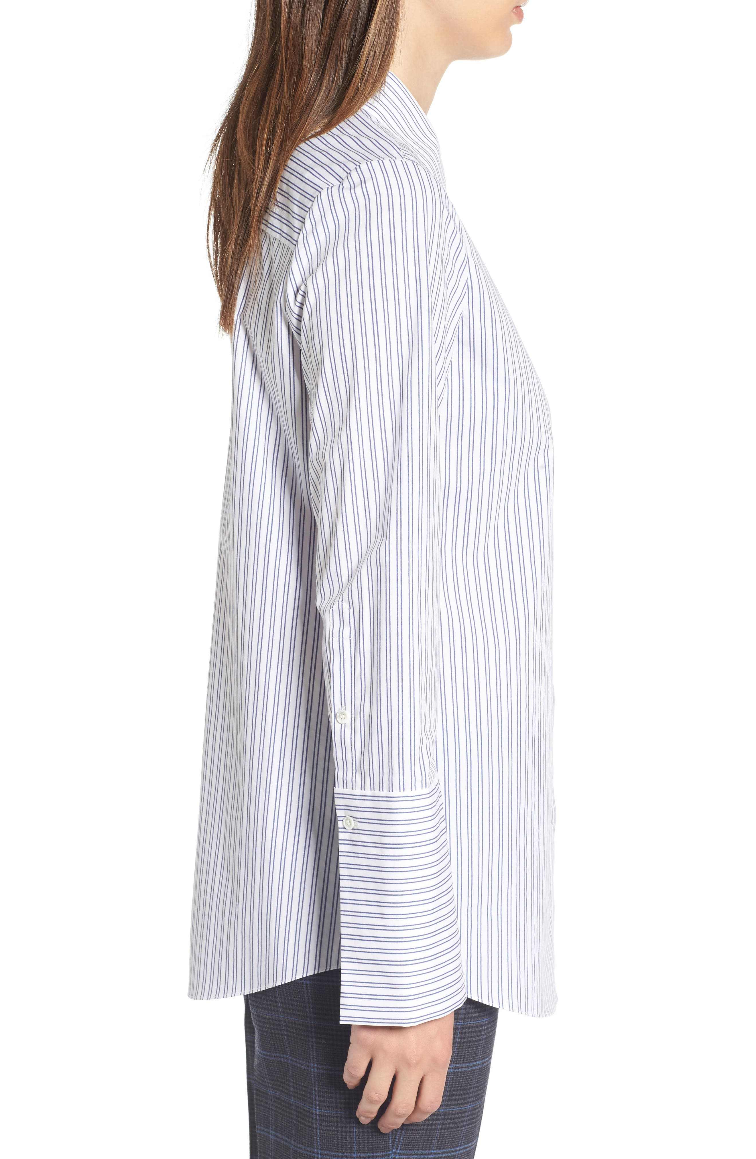 Exaggerated Cuff Stripe Shirt,                             Alternate thumbnail 3, color,                             450