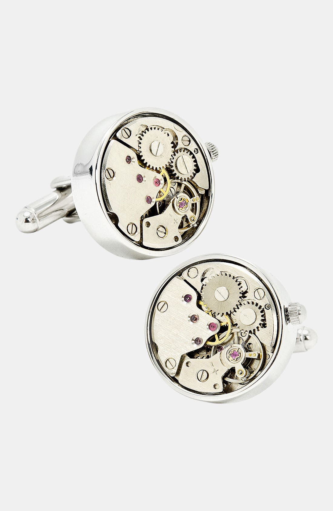 OX AND BULL TRADING CO.,                             Penny Black 40 Steampunk Watch Movement Cuff Links,                             Main thumbnail 1, color,                             040