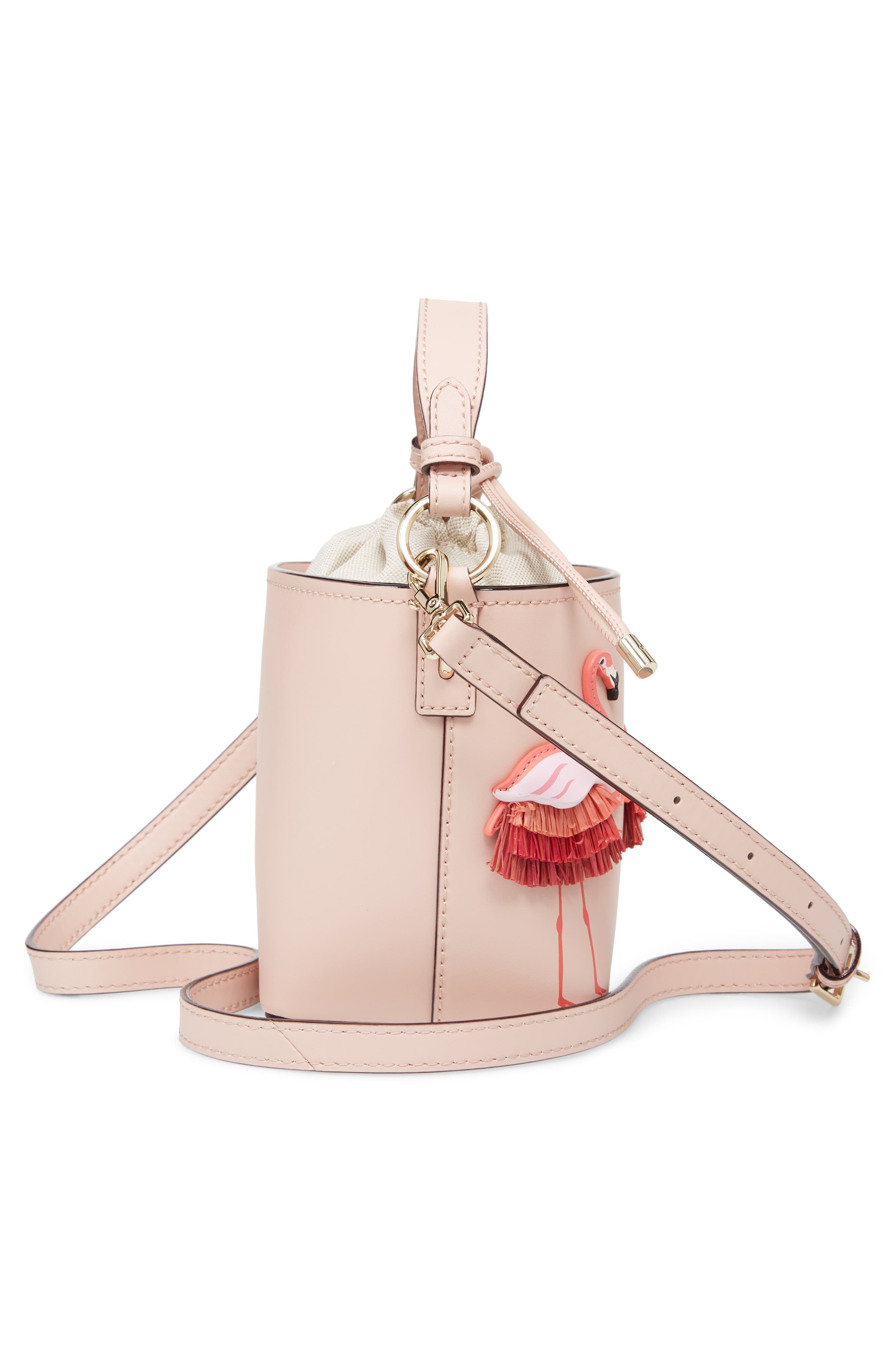 by the pool - flamingo pippa leather bucket bag,                             Alternate thumbnail 5, color,                             650